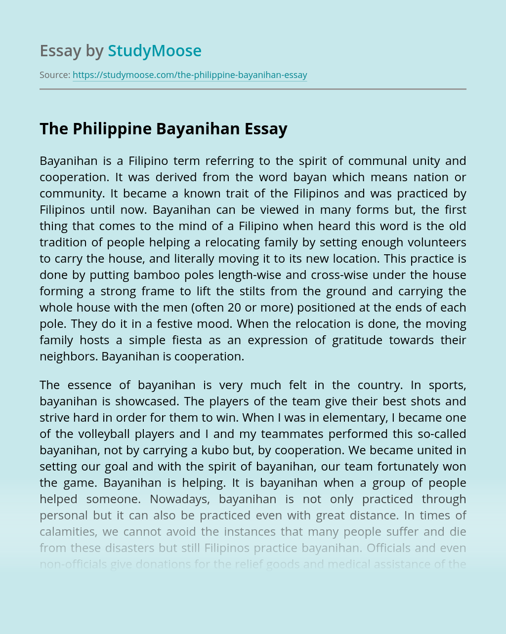 The Philippine Bayanihan