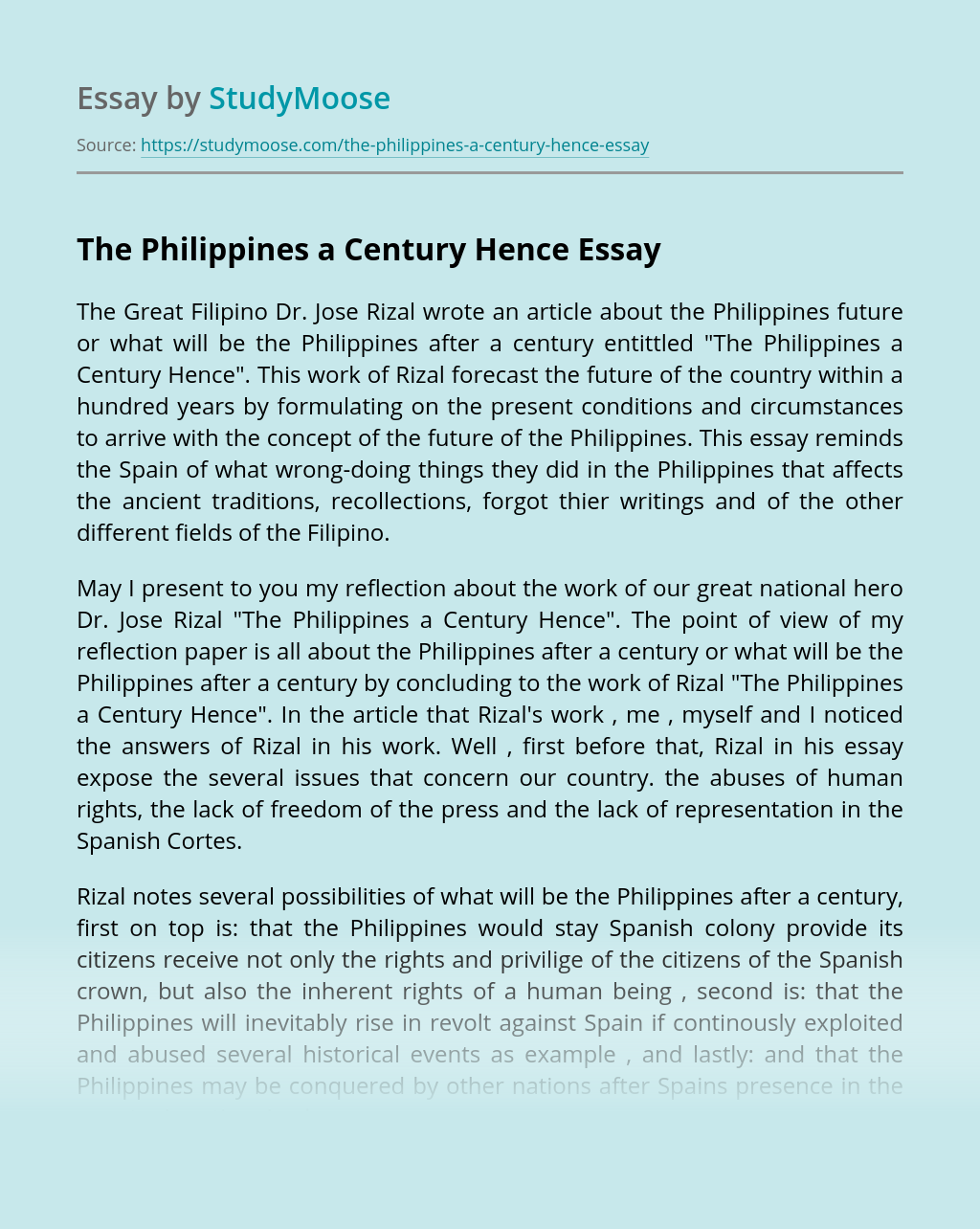 The Philippines a Century Hence