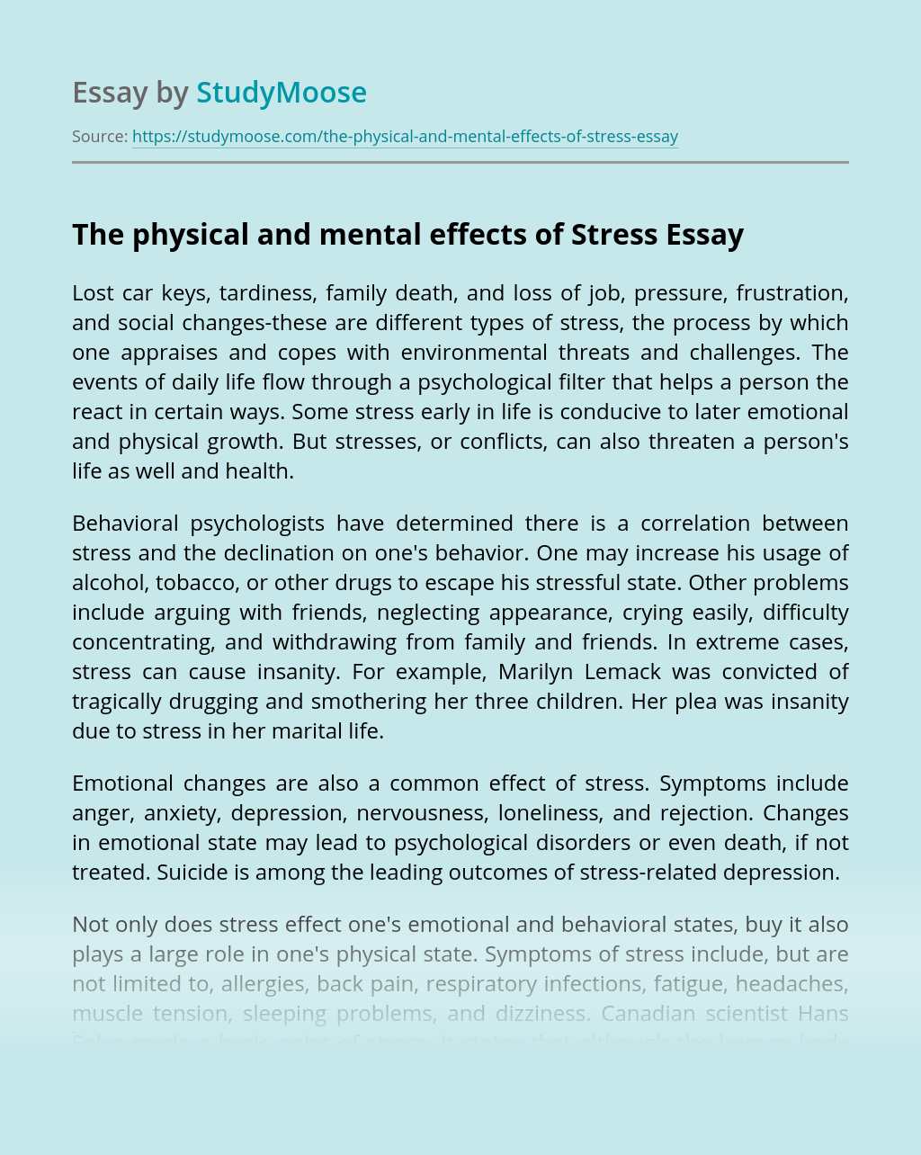 The physical and mental effects of Stress