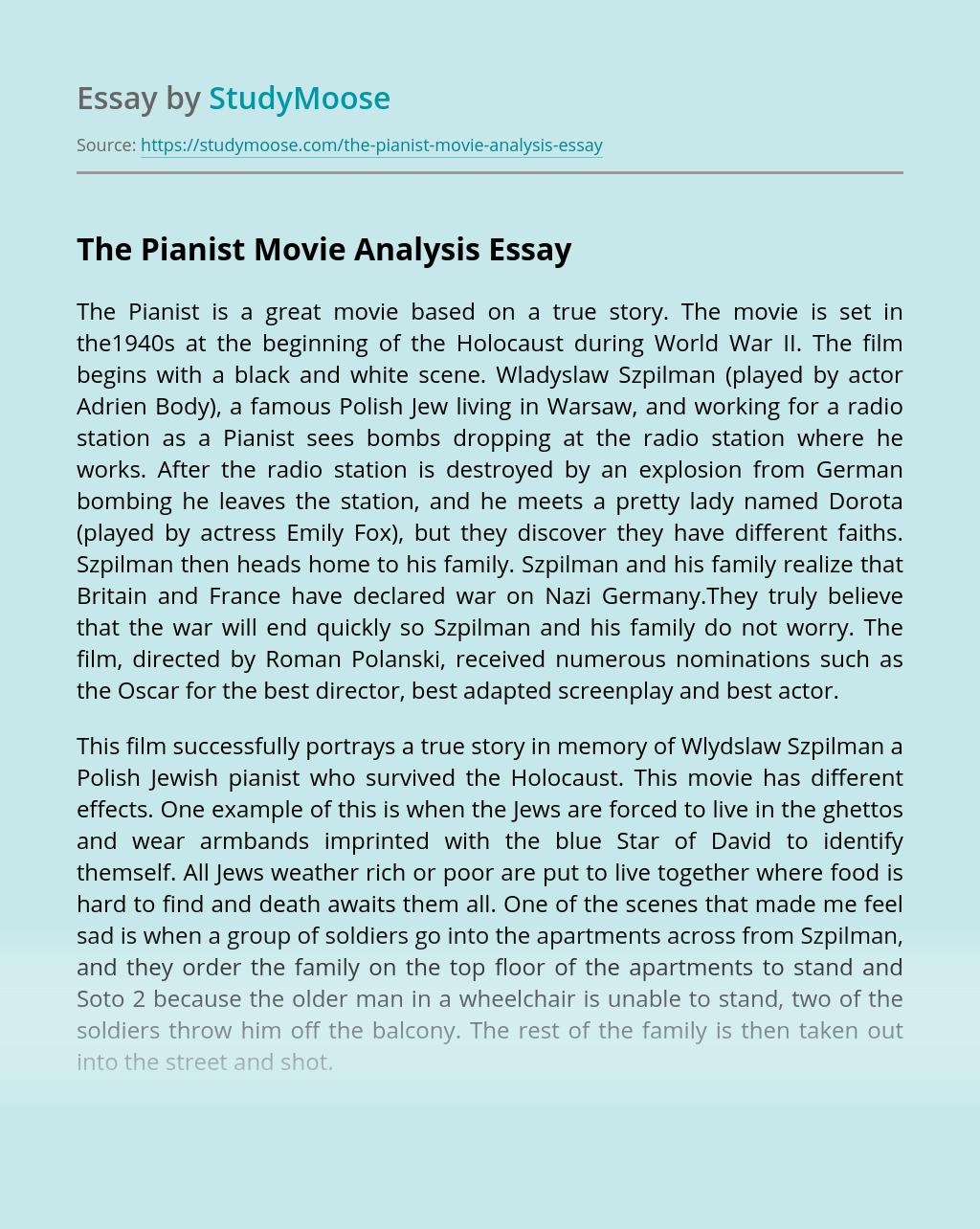 The Pianist Movie Analysis