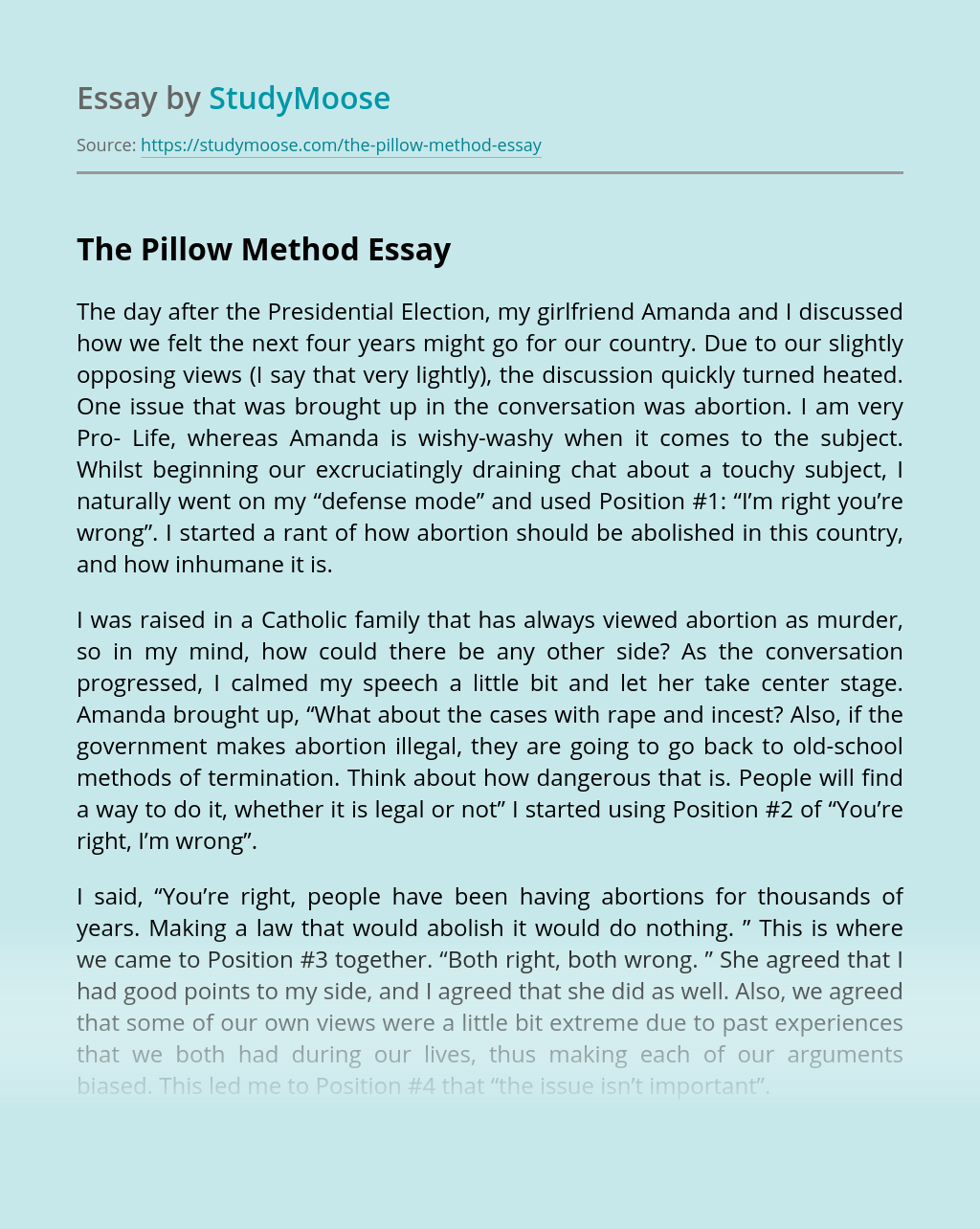 The Pillow Method