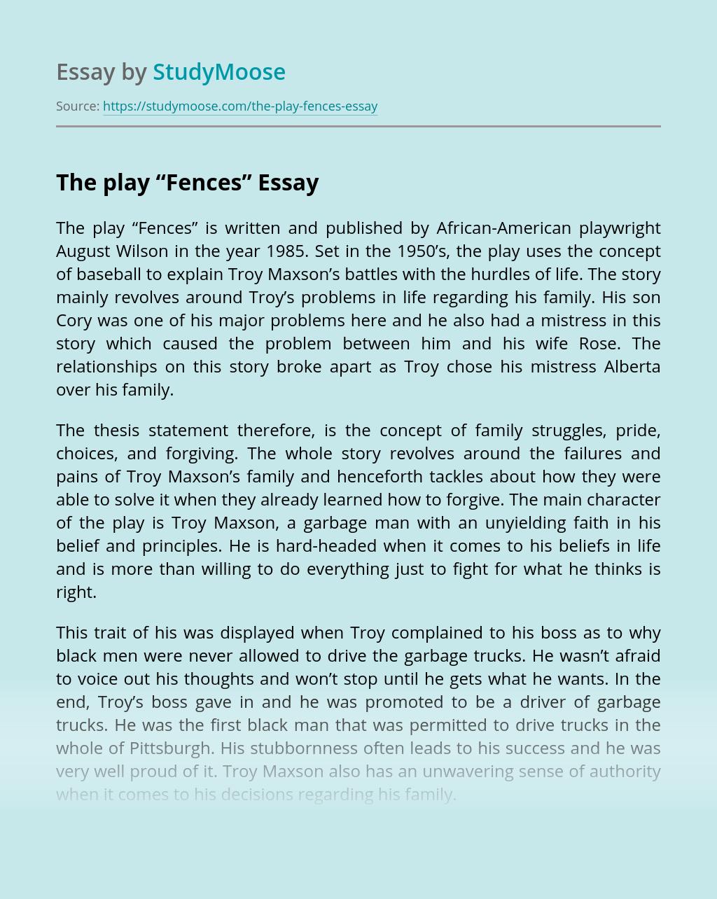 Free essay fences august wilson common app essay prompt 2018