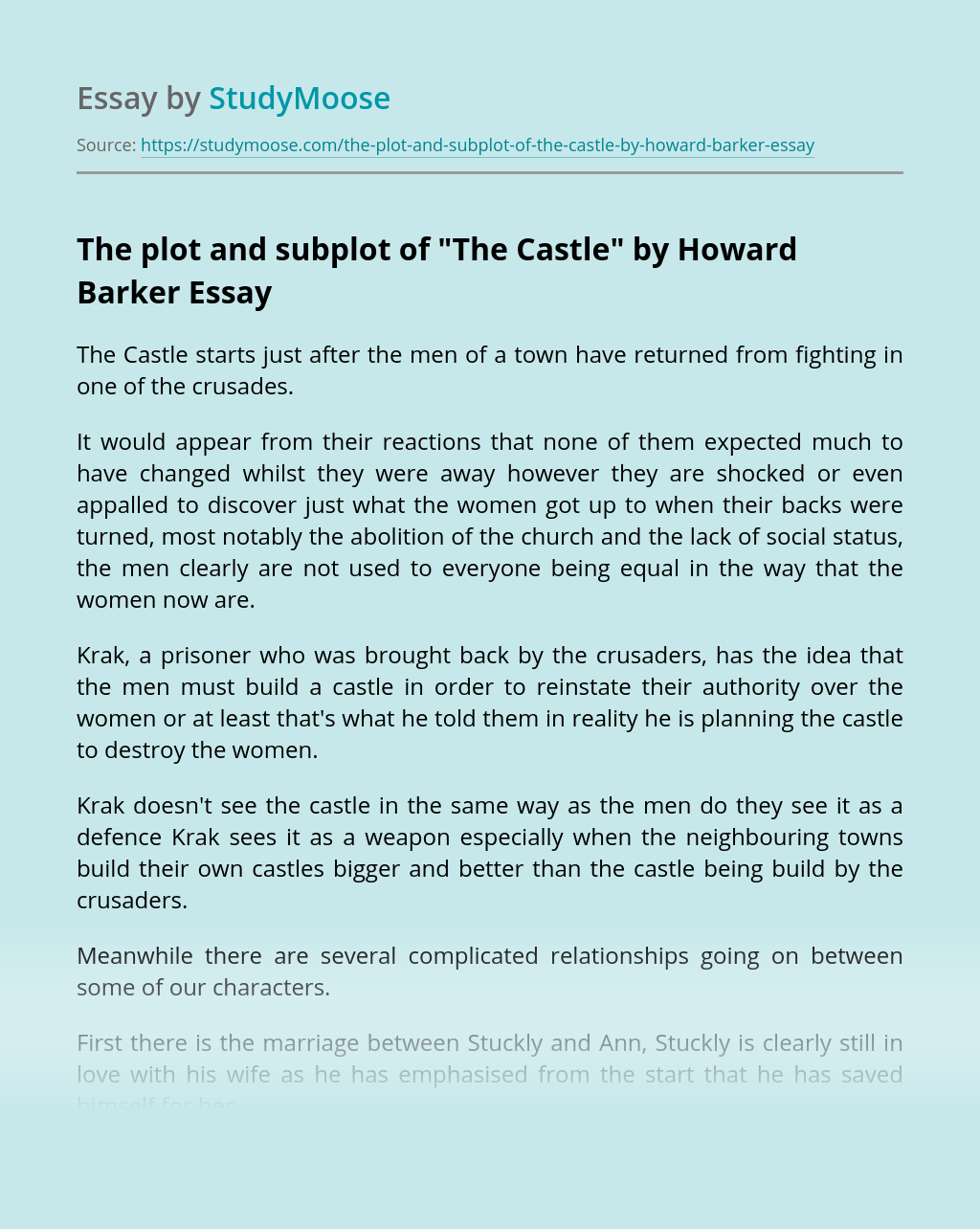 """The plot and subplot of """"The Castle"""" by Howard Barker"""