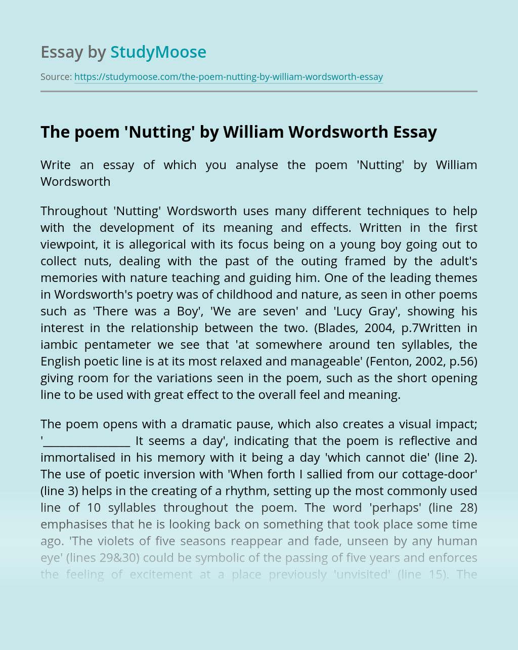 The poem 'Nutting' by William Wordsworth