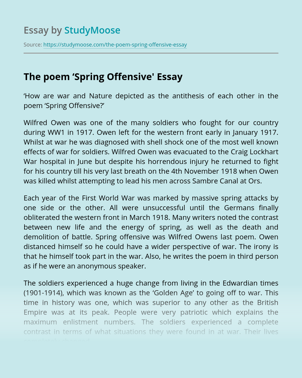 The Poem 'Spring Offensive'