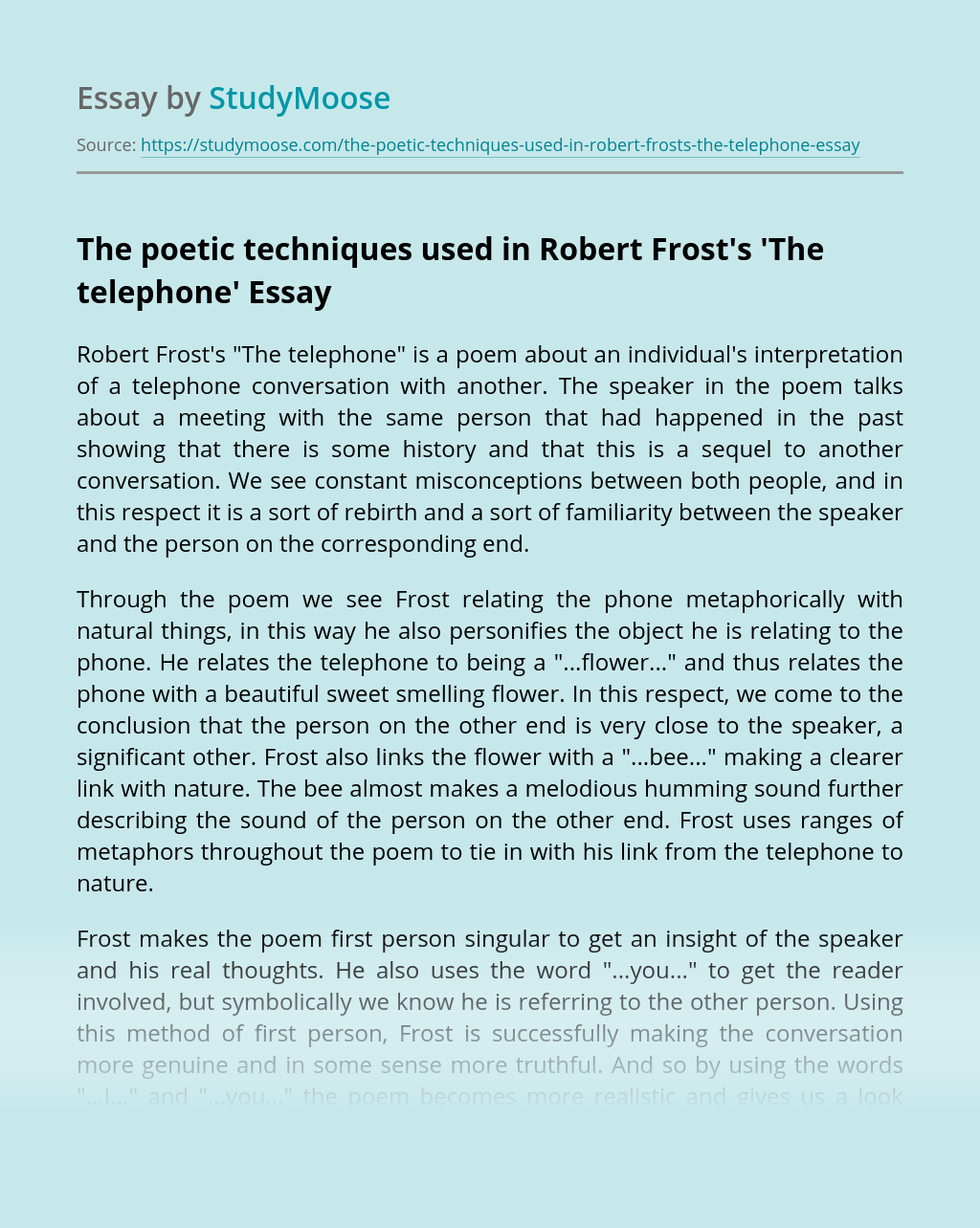 The poetic techniques used in Robert Frost's'The telephone'
