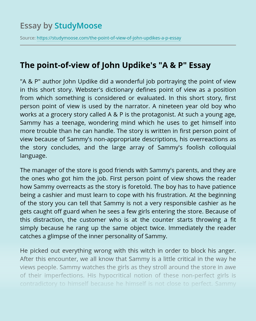 """The point-of-view of John Updike's """"A & P"""""""