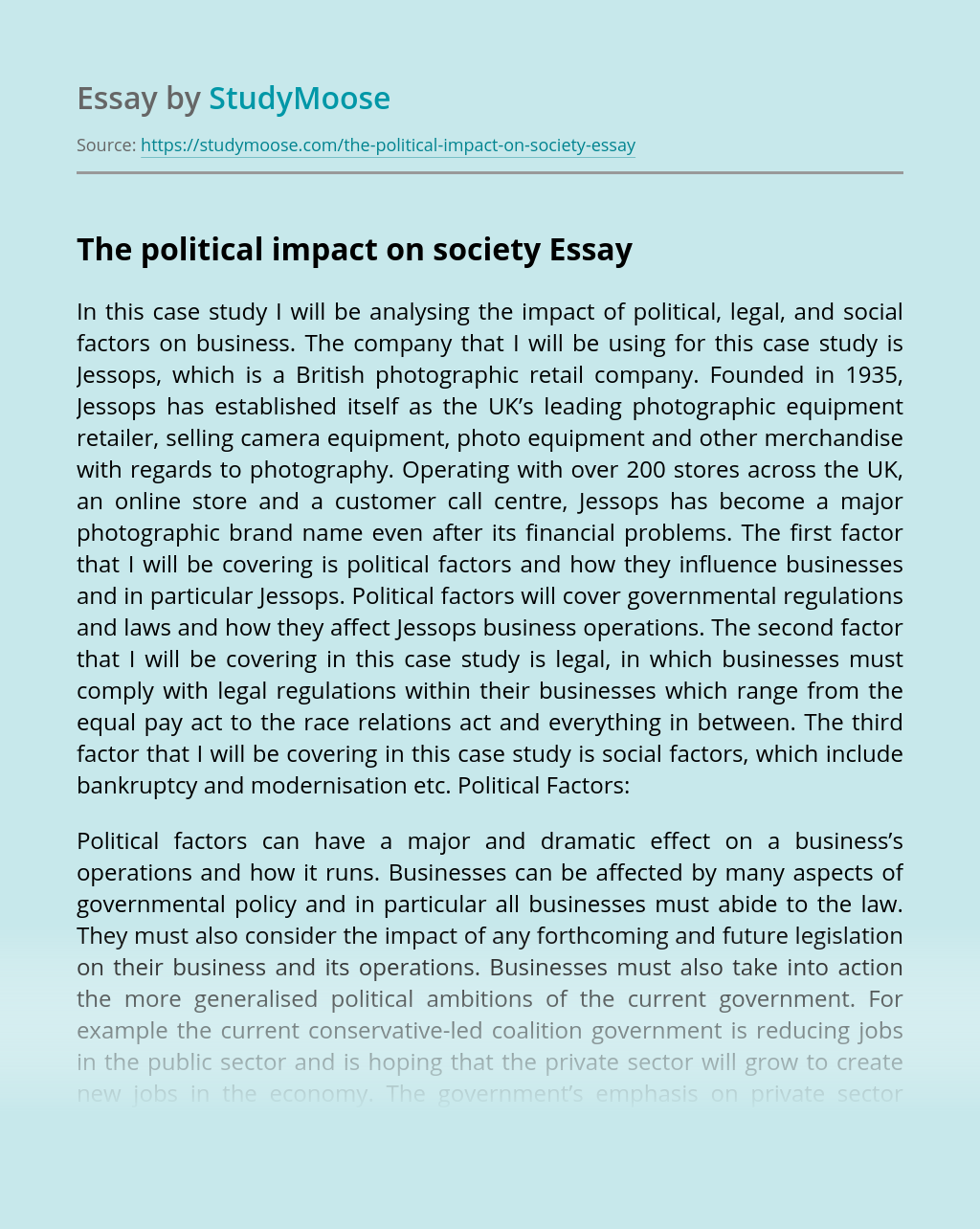 The political impact on society
