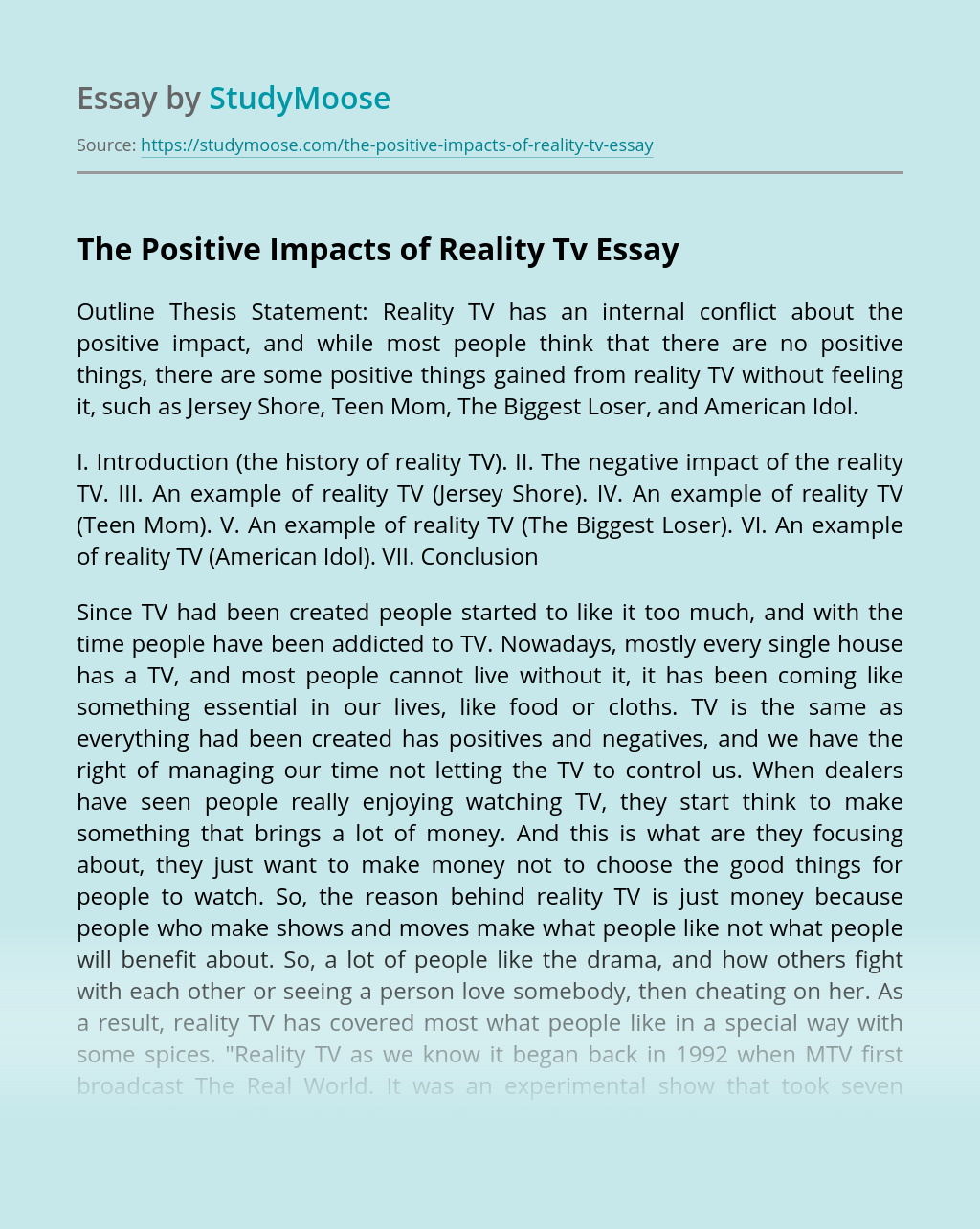 The Positive Impacts of Reality Tv