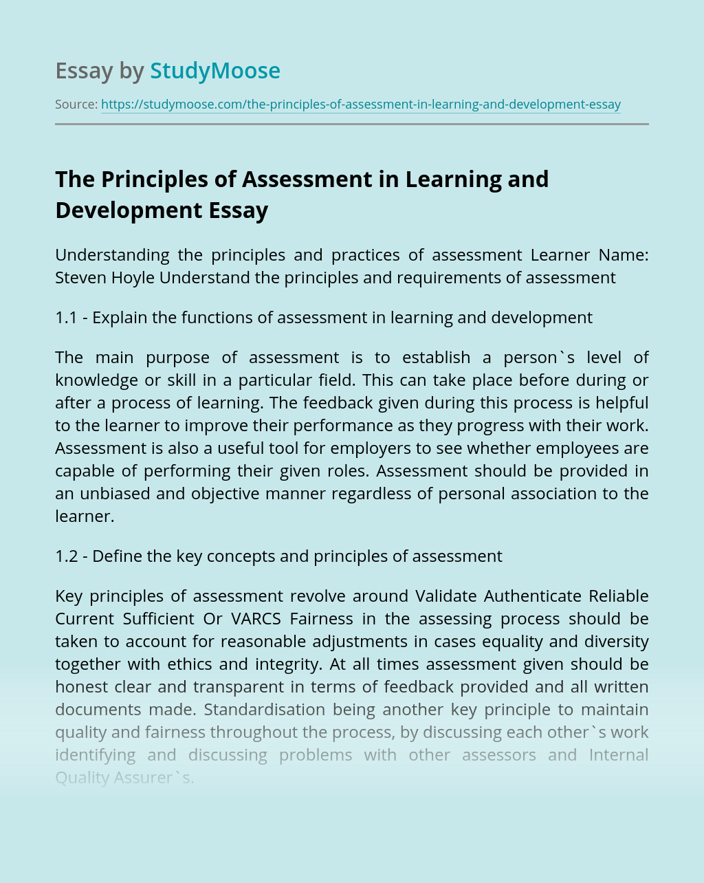 The Principles of Assessment in Learning and Development