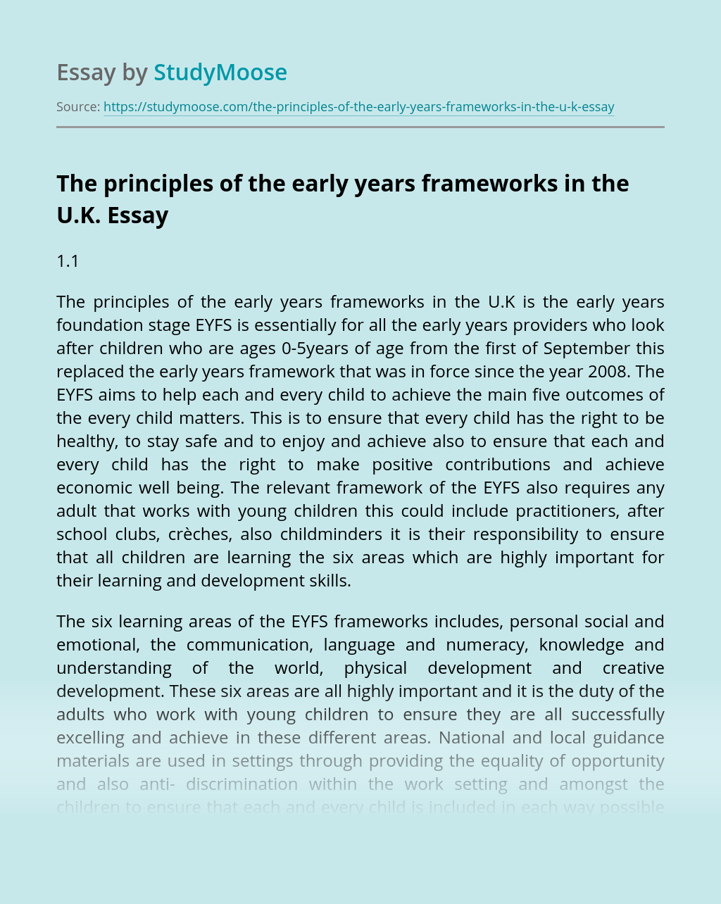 The principles of the early years frameworks in the U.K.