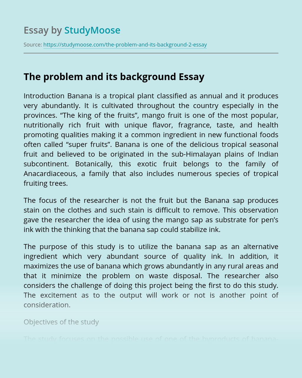 The problem and its background