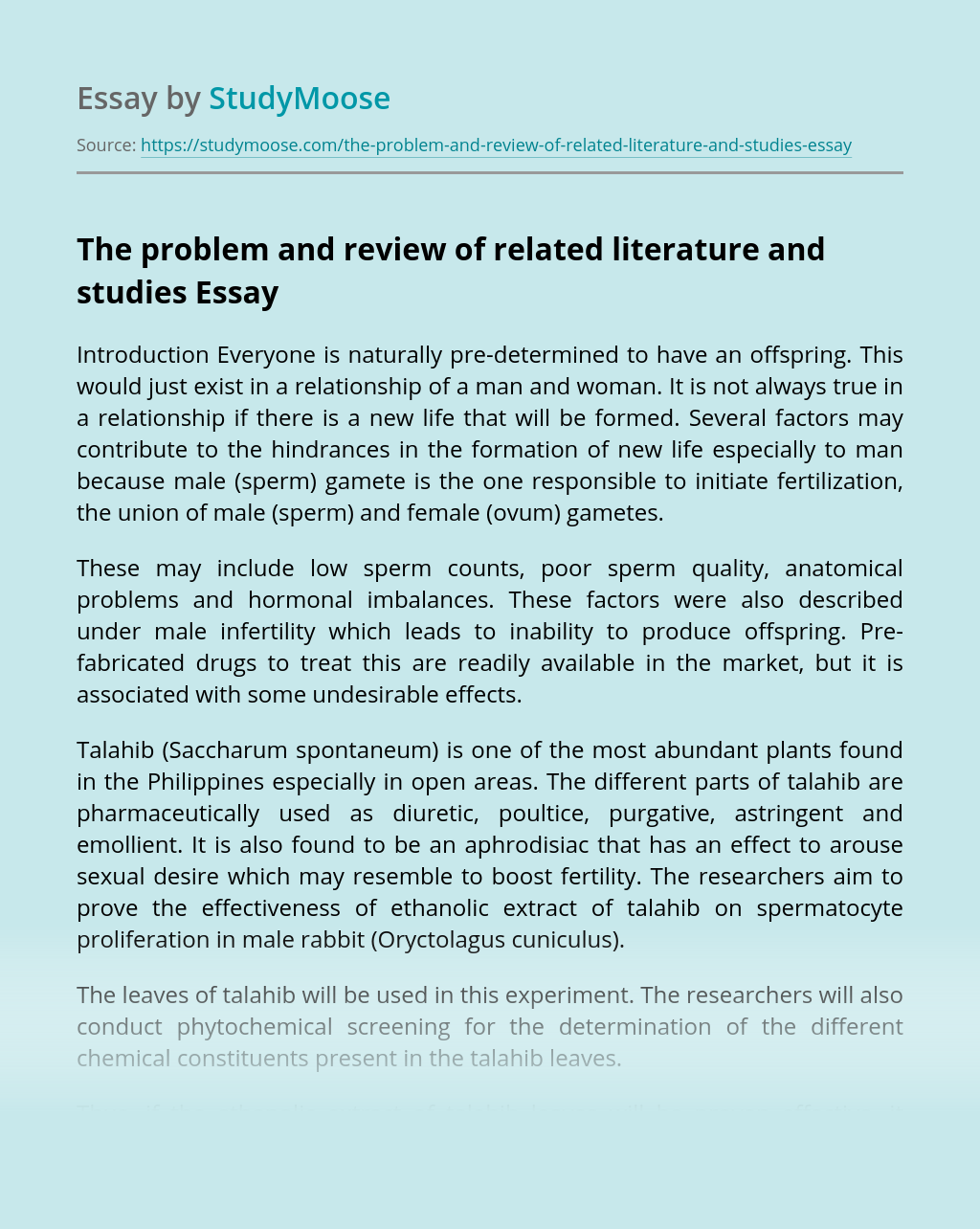 The problem and review of related literature and studies