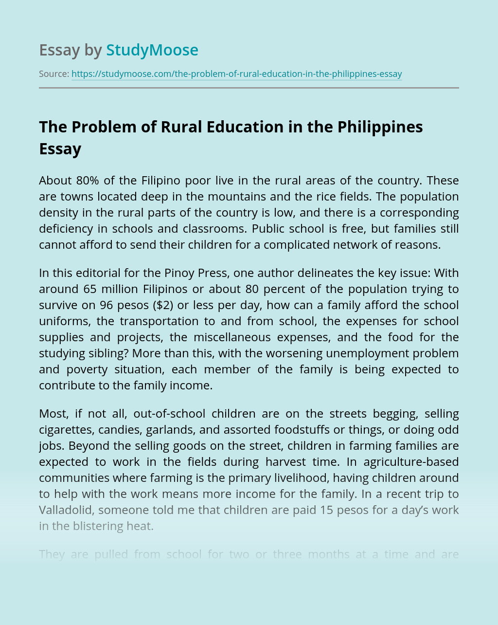 The Problem of Rural Education in the Philippines