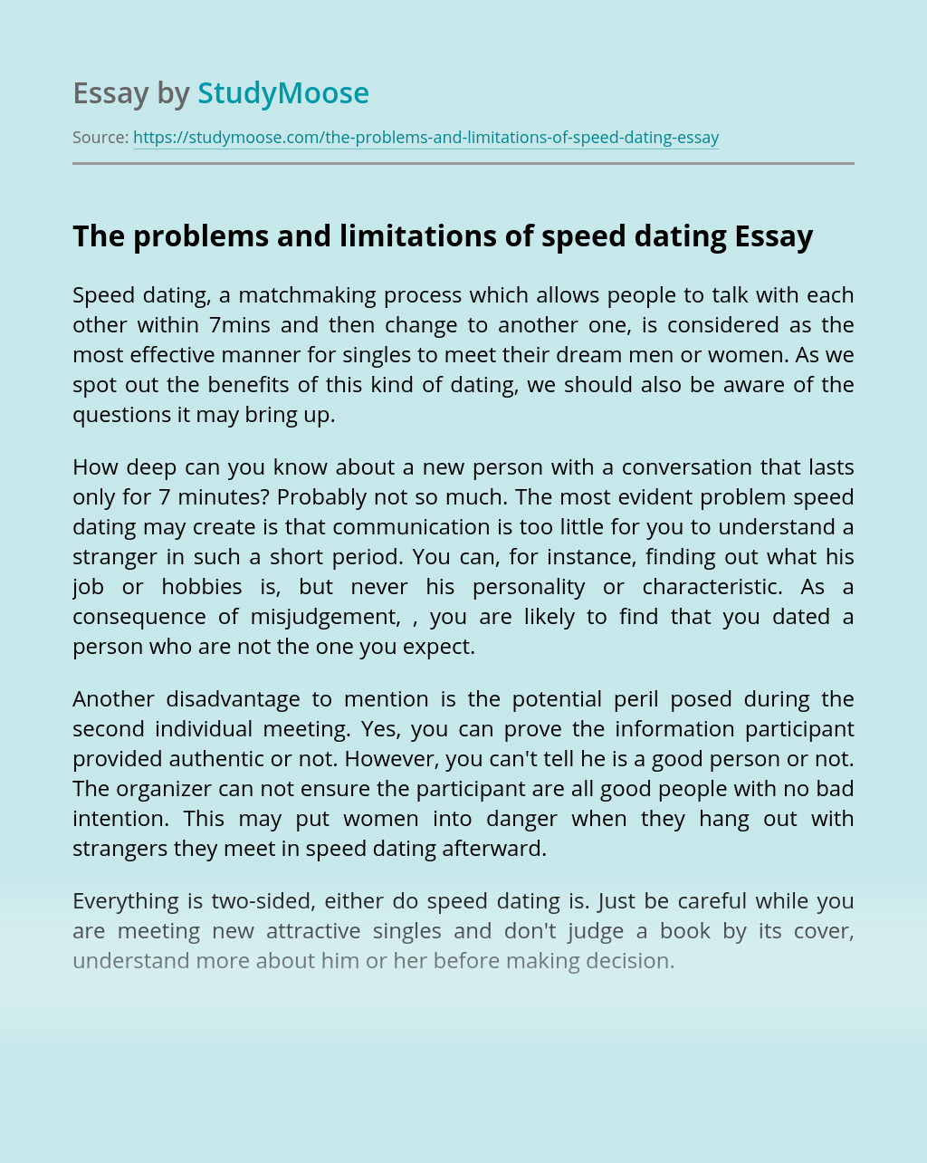 The problems and limitations of speed dating