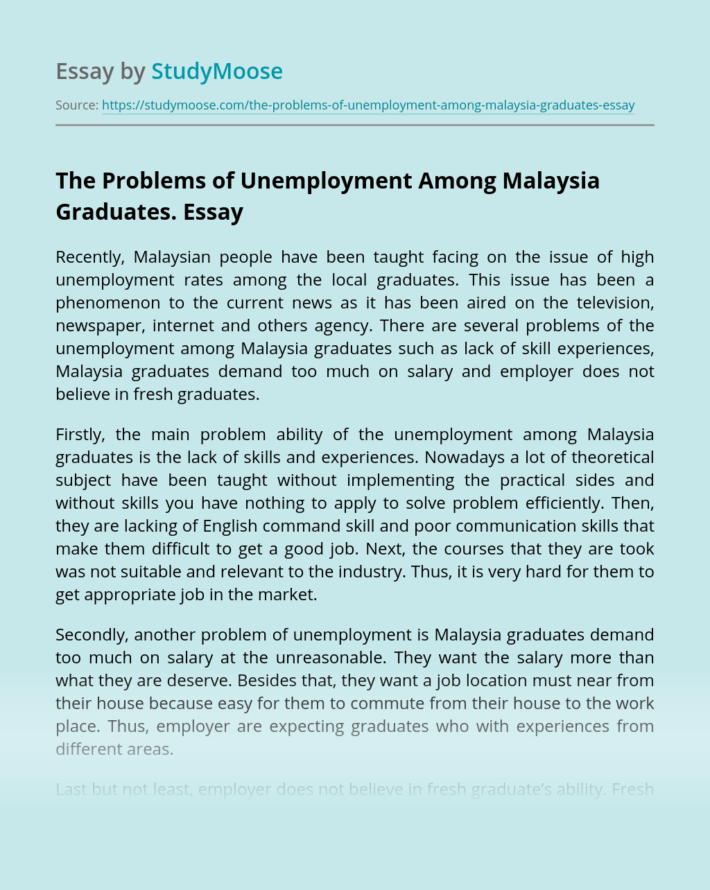 The Problems of Unemployment Among Malaysia Graduates.