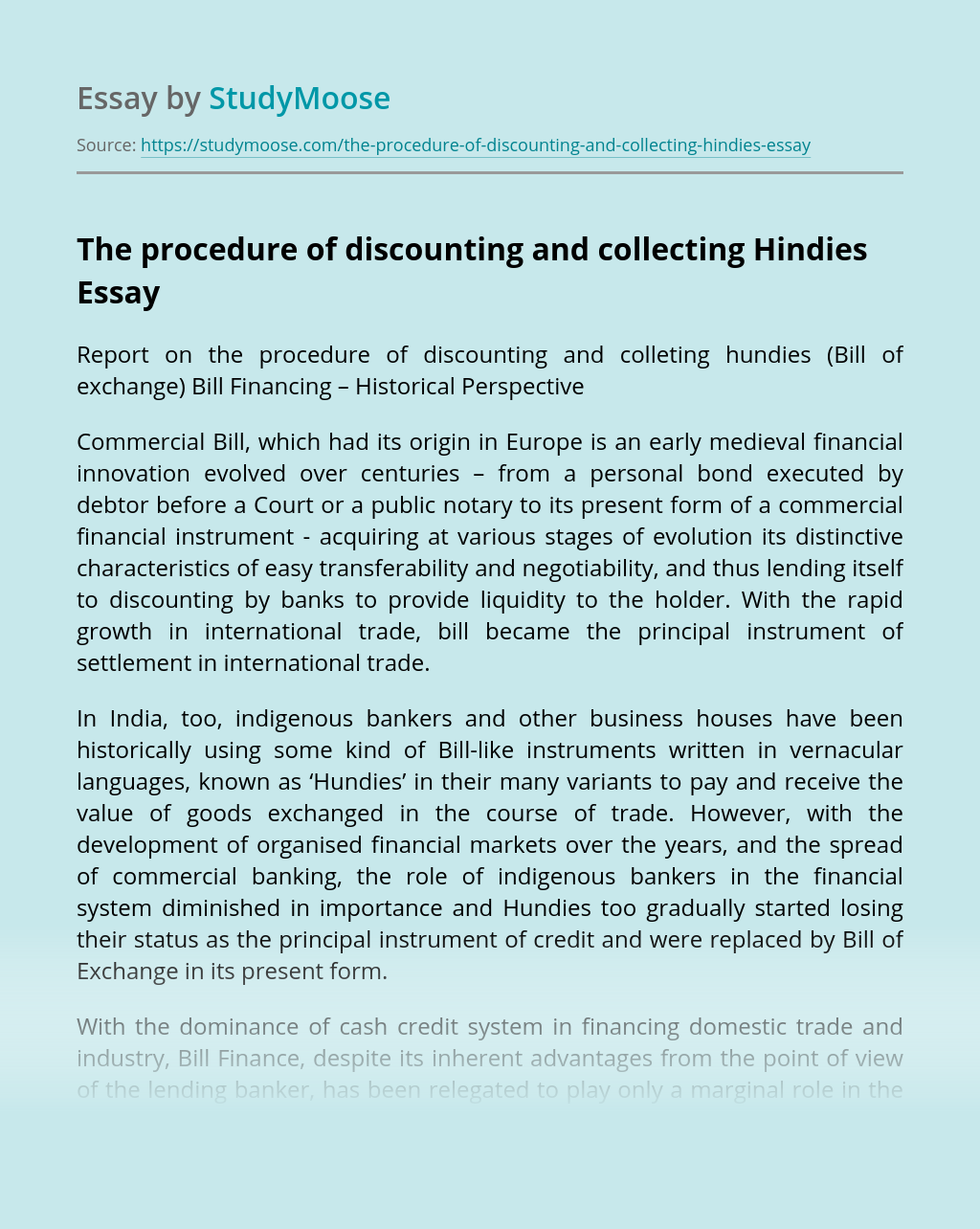 The procedure of discounting and collecting Hindies