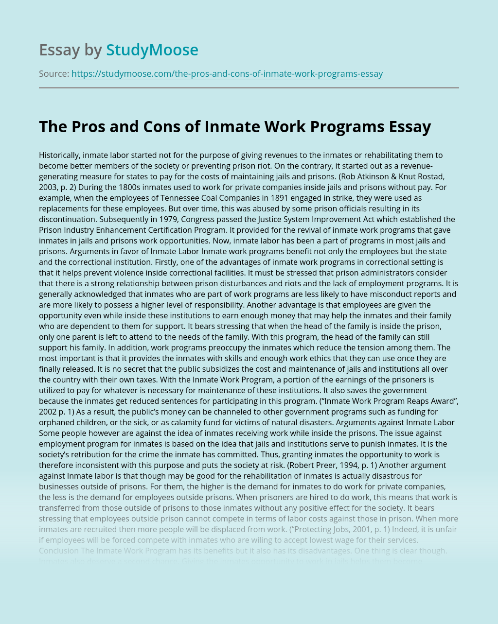 The Pros and Cons of Inmate Work Programs