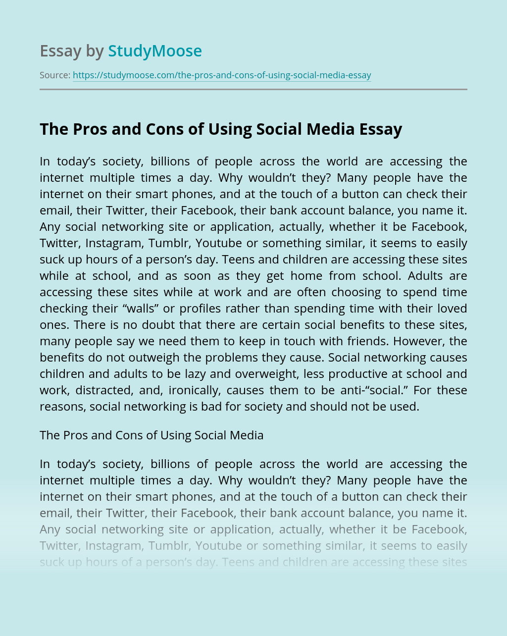 The Pros and Cons of Using Social Media