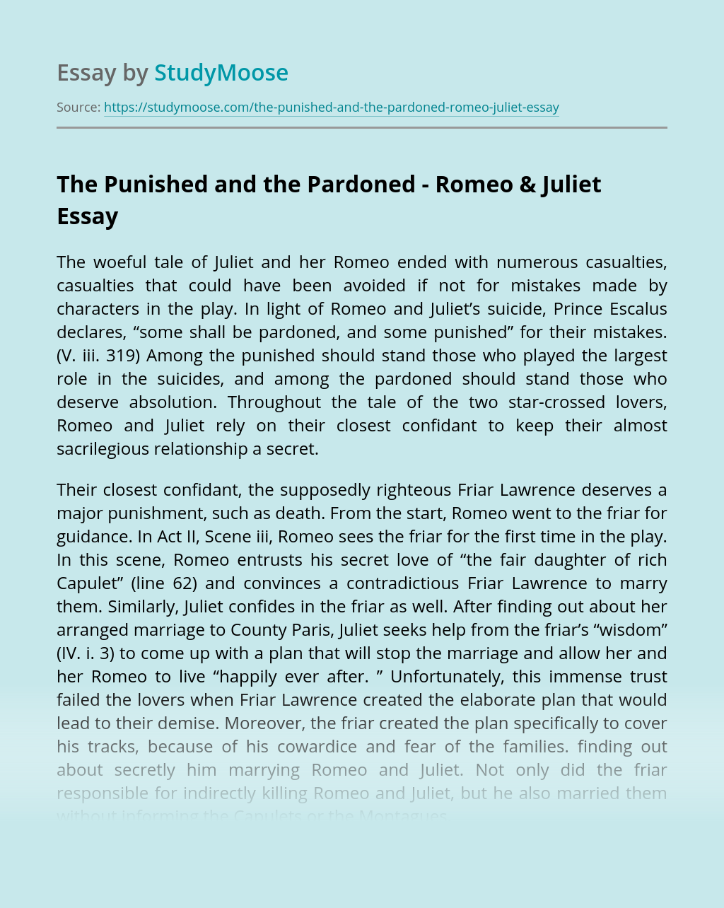 The Punished and the Pardoned – Romeo & Juliet
