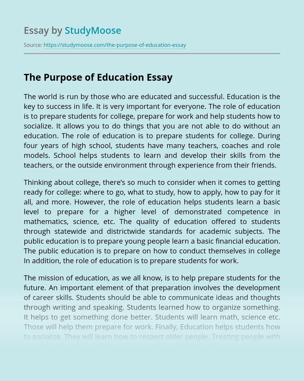 The Purpose of Education