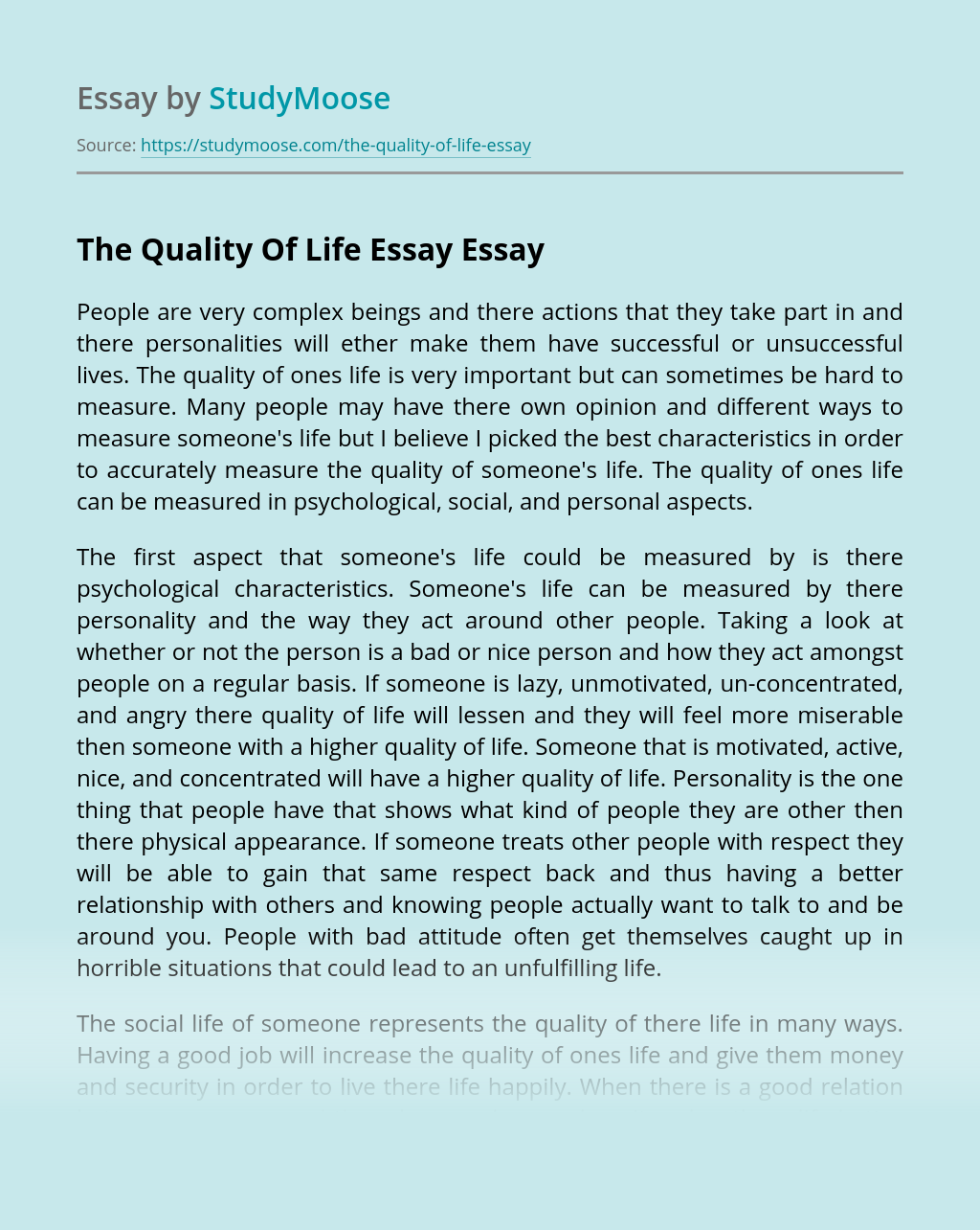 The Quality Of Life Essay