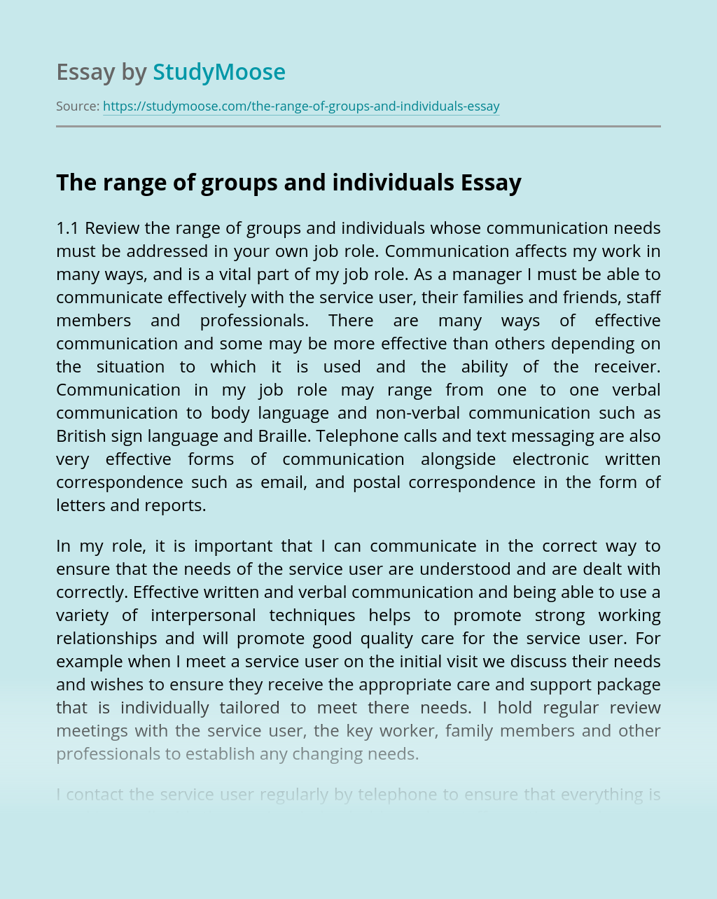 The range of groups and individuals