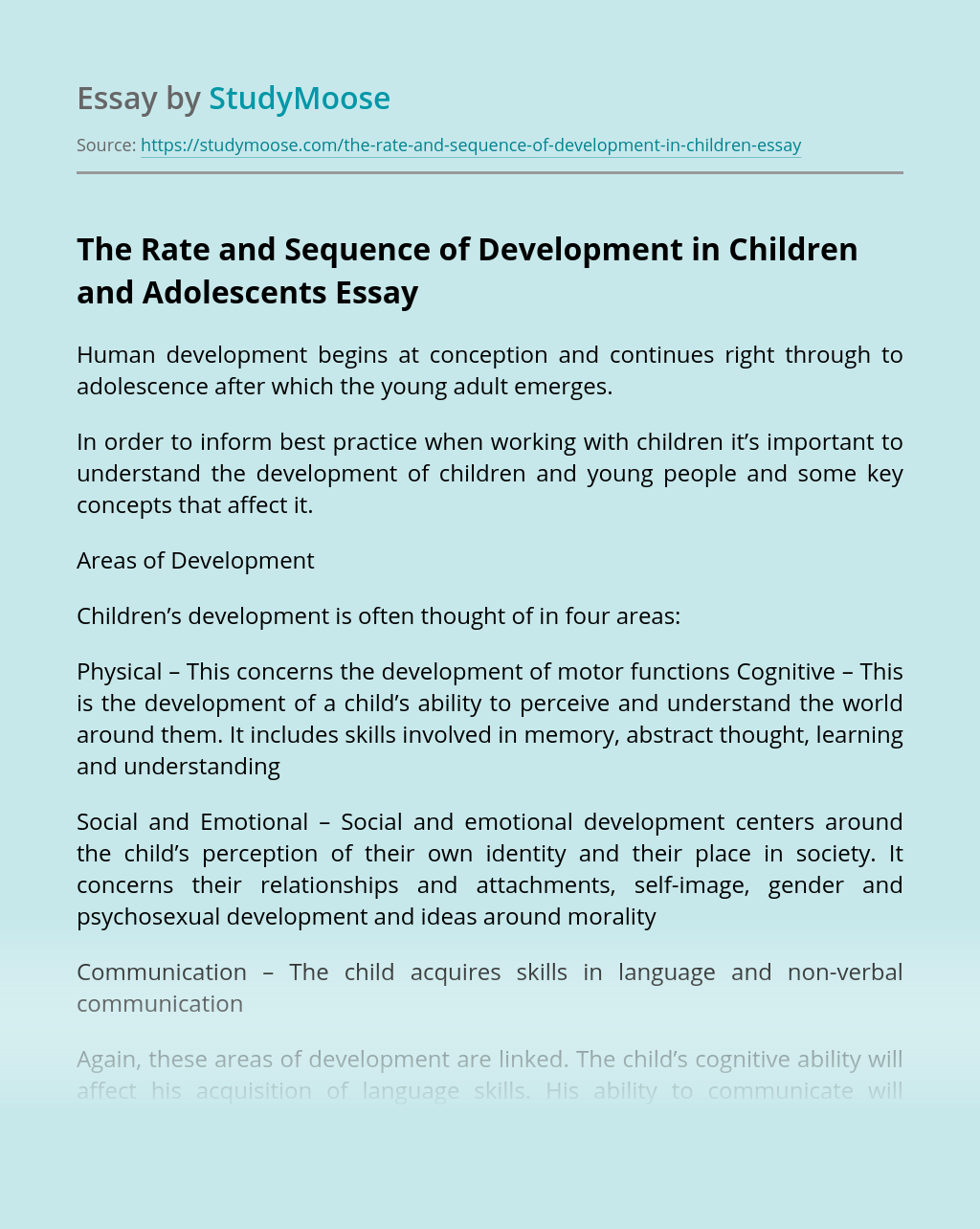 The Rate and Sequence of Development in Children and Adolescents