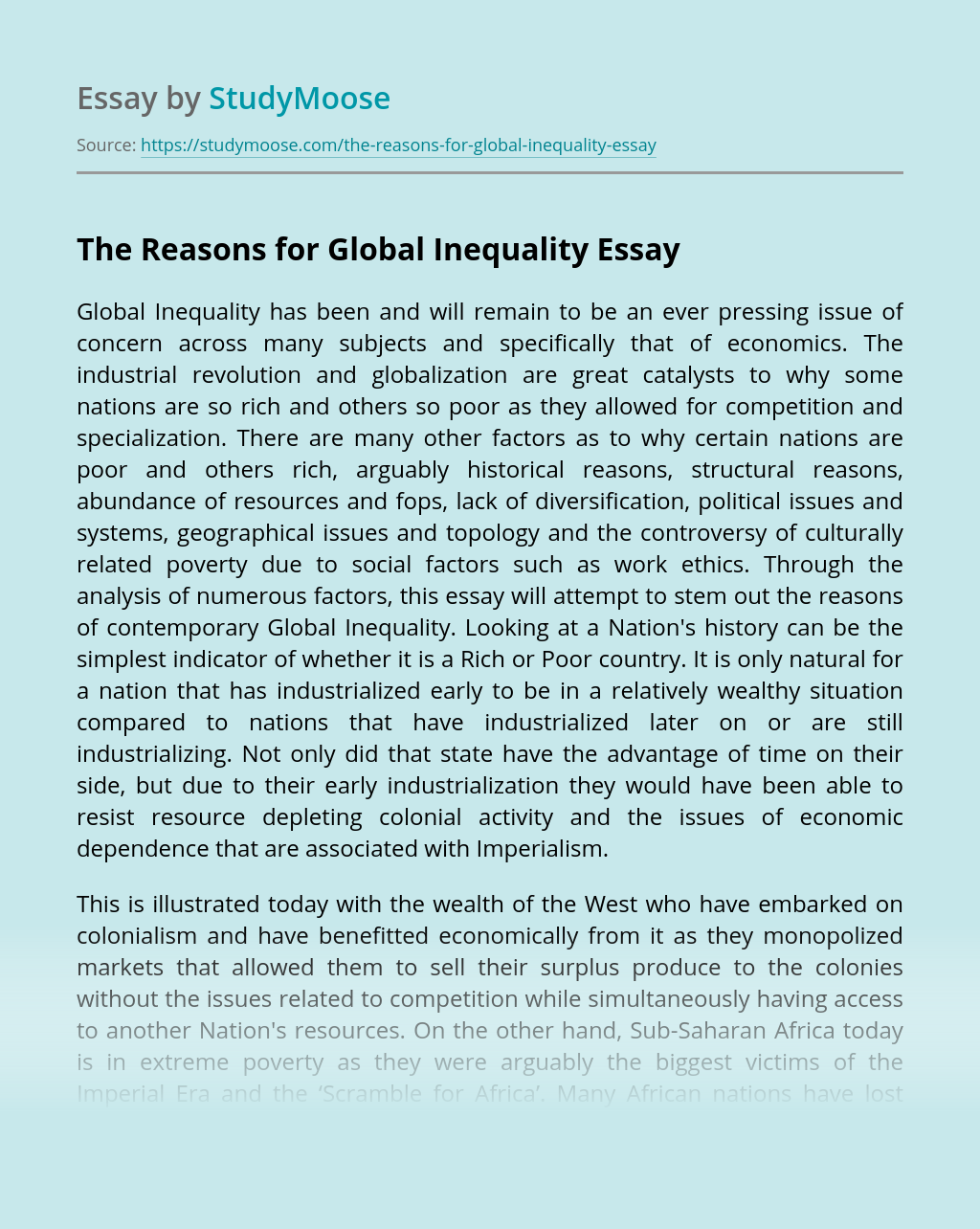 The Reasons for Global Inequality