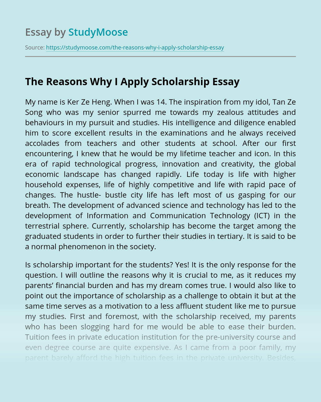 The Reasons Why I Apply Scholarship