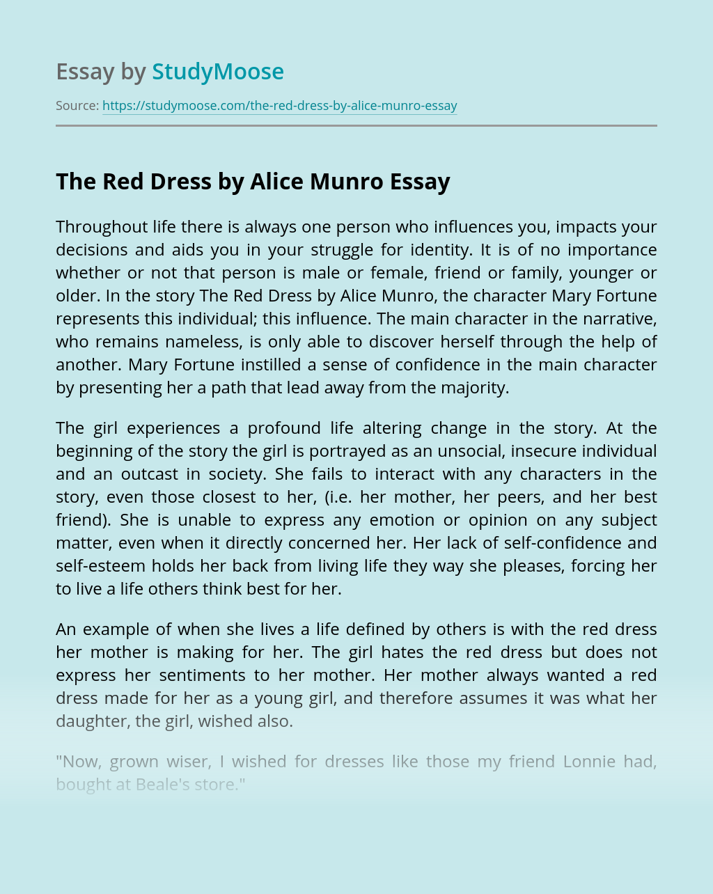 The Red Dress by Alice Munro