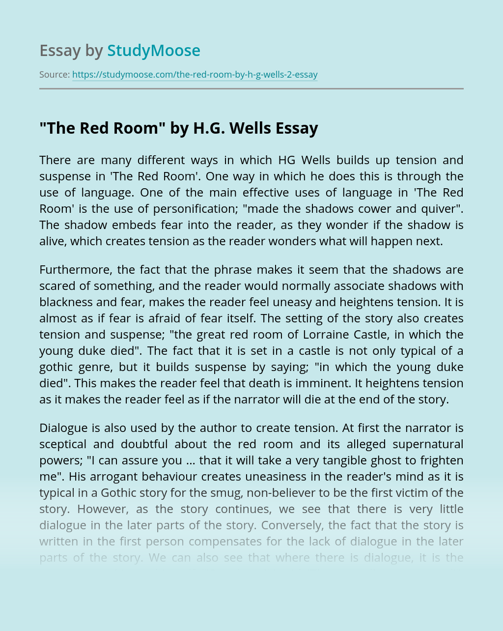 """""""The Red Room"""" by H.G. Wells"""