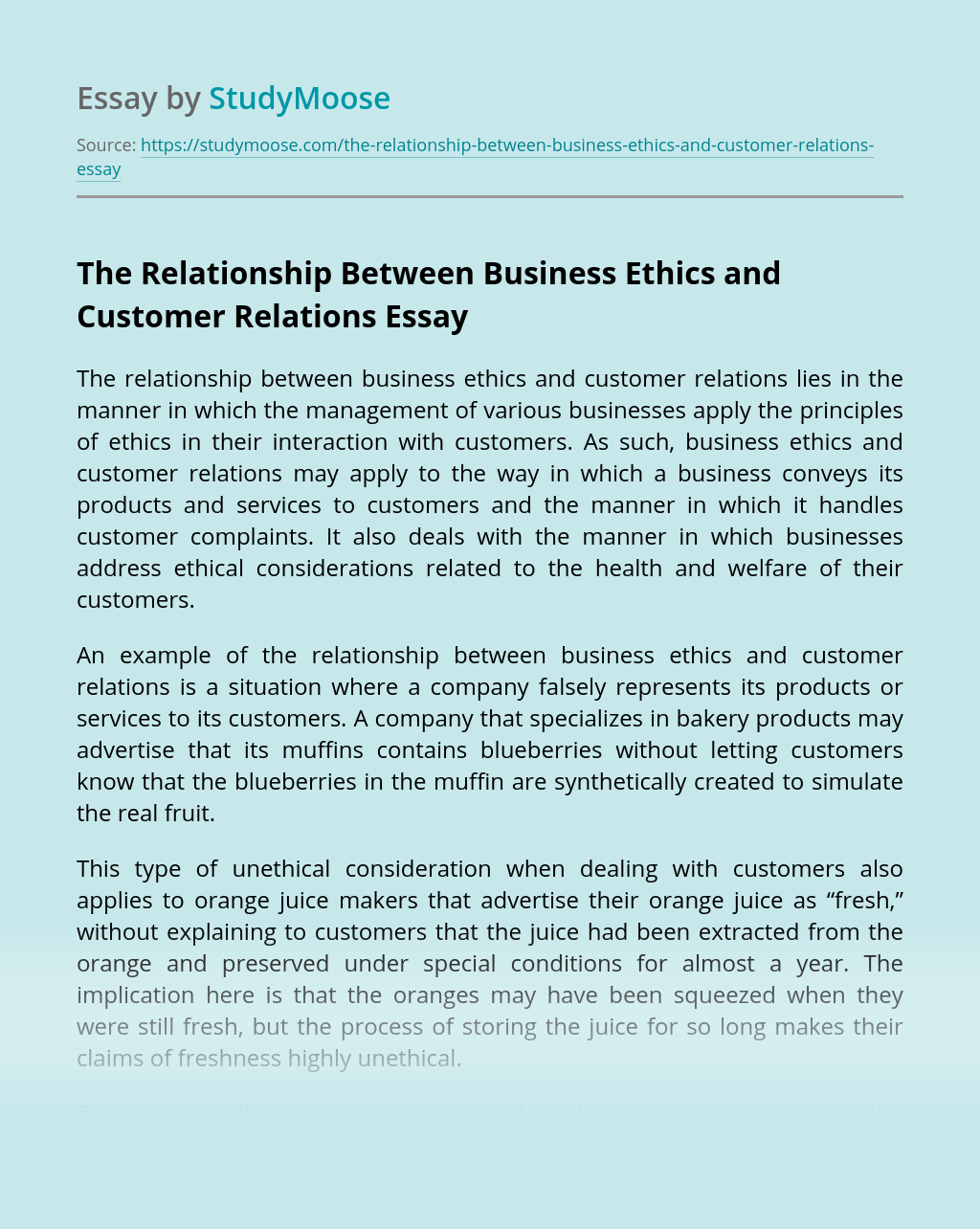 The Relationship Between Business Ethics and Customer Relations