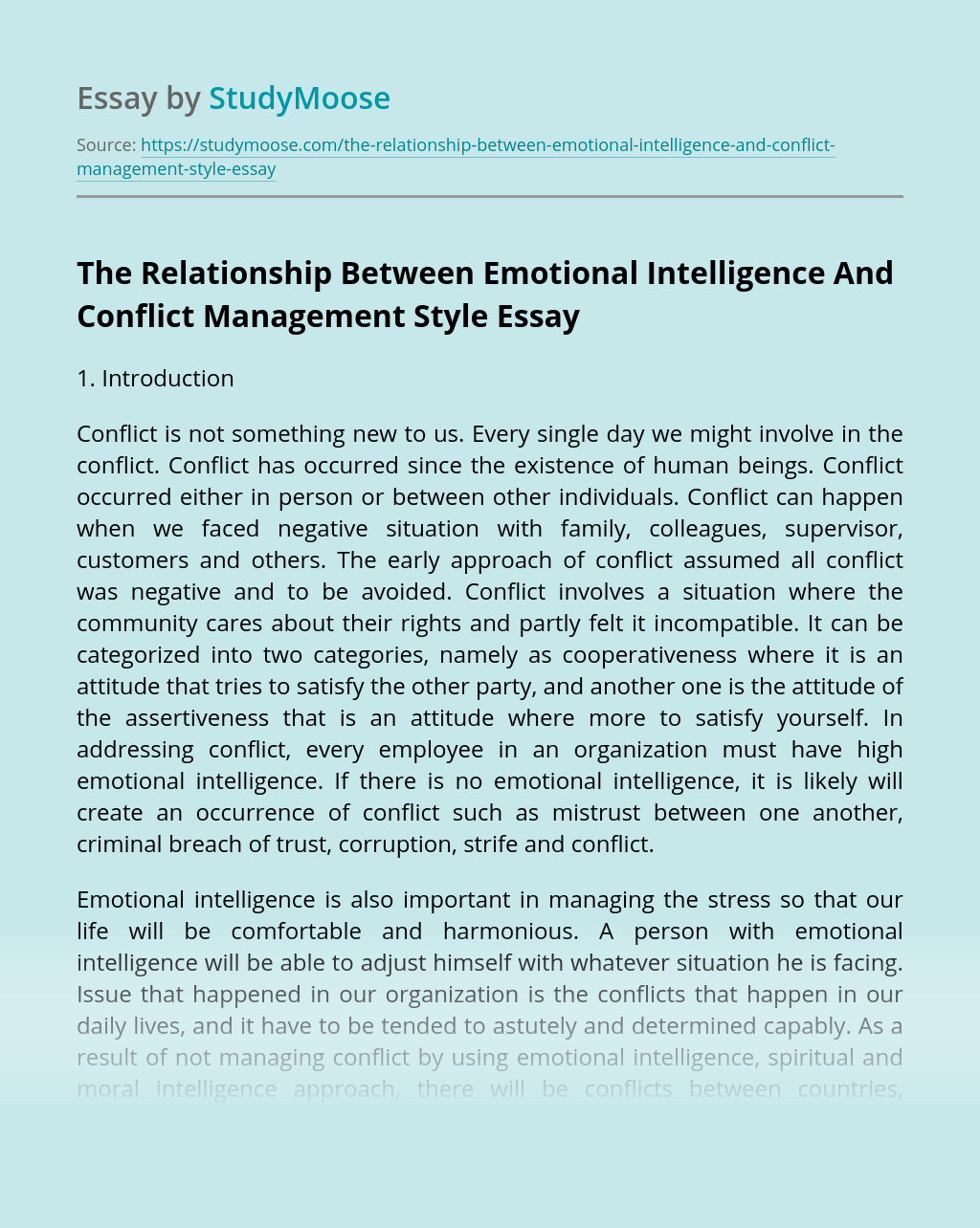 The Relationship Between Emotional Intelligence And Conflict Management Style