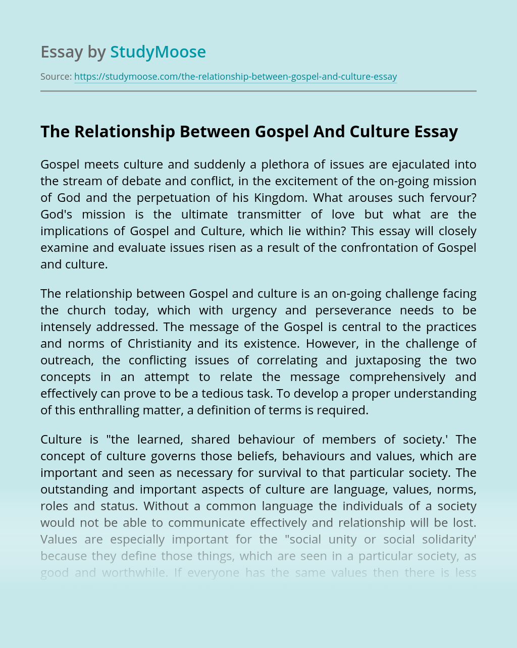 The Relationship Between Gospel And Culture