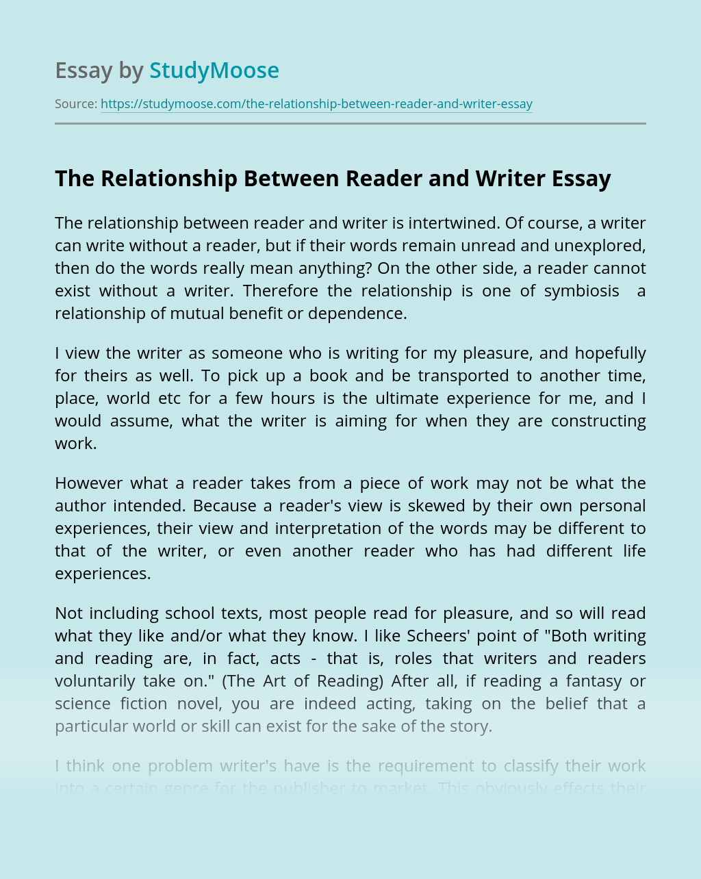 The Relationship Between Reader and Writer