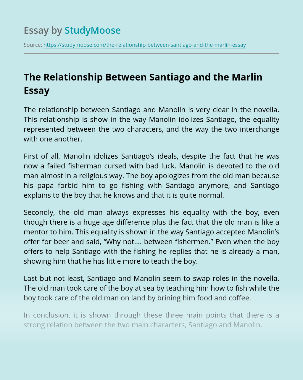 The Relationship Between Santiago and the Marlin