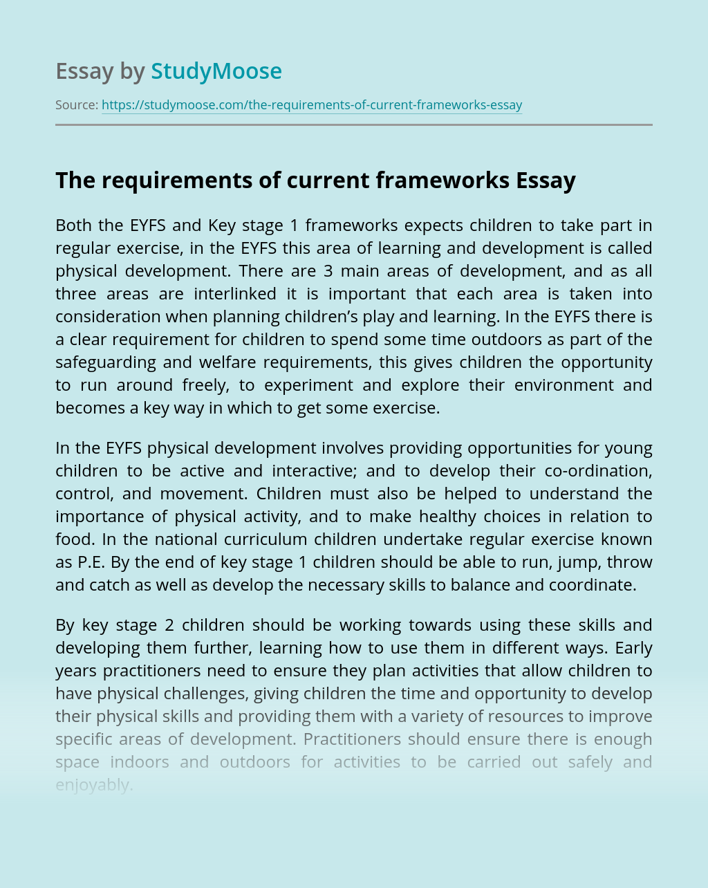 The Requirements of Current Frameworks