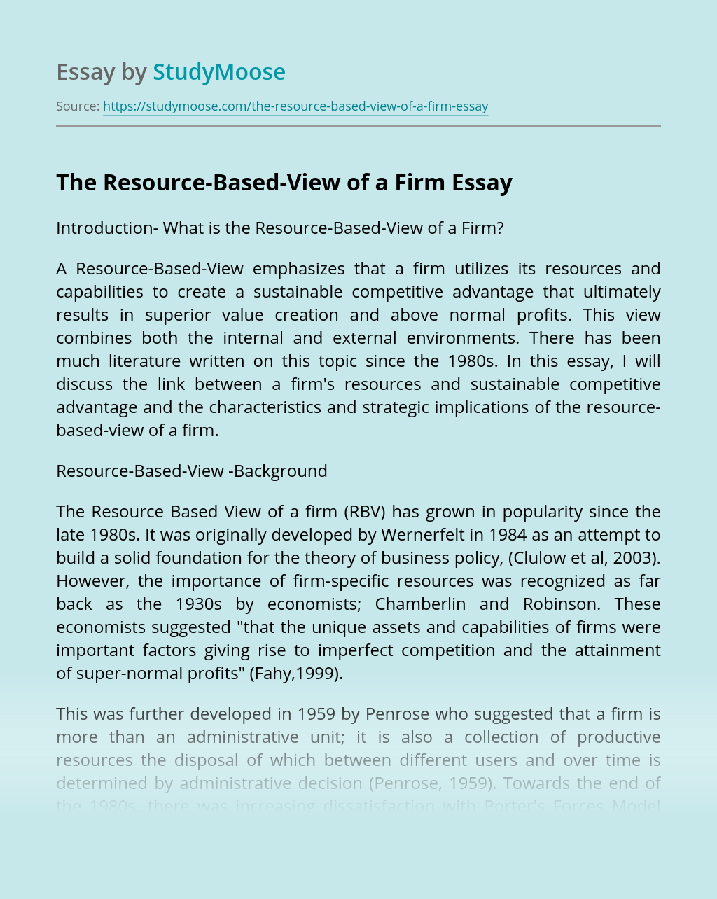 The Resource-Based-View of a Firm