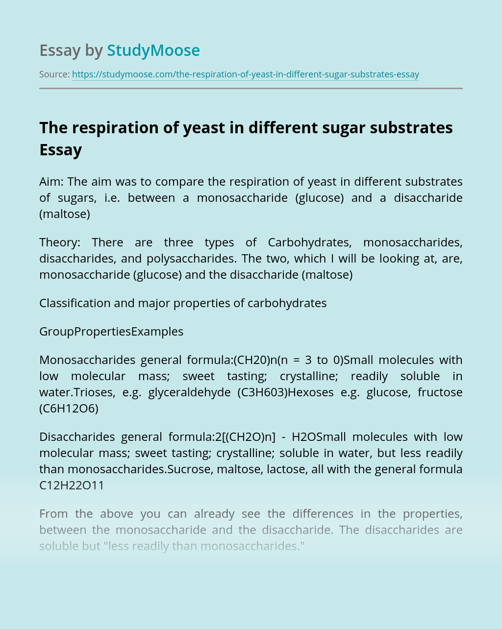 The respiration of yeast in different sugar substrates