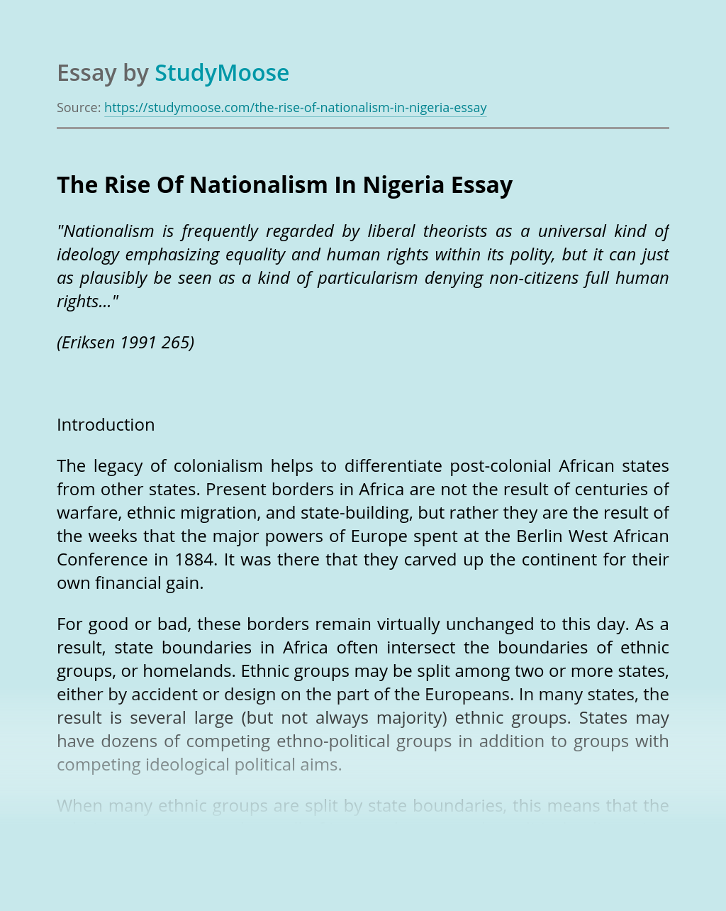 The Rise Of Nationalism In Nigeria