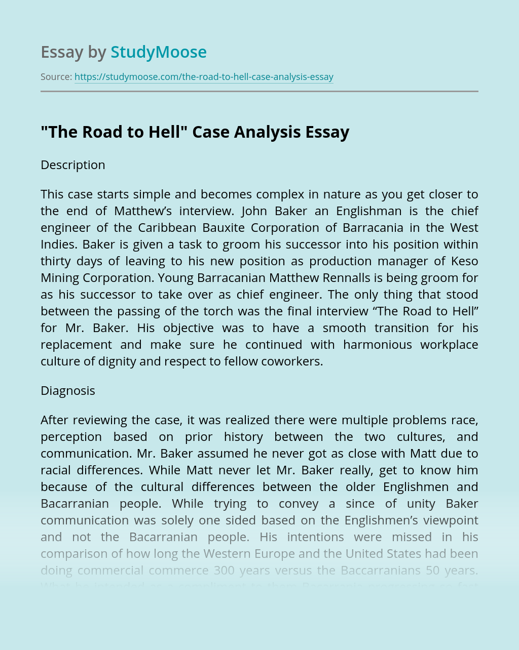 """""""The Road to Hell"""" Case Analysis"""