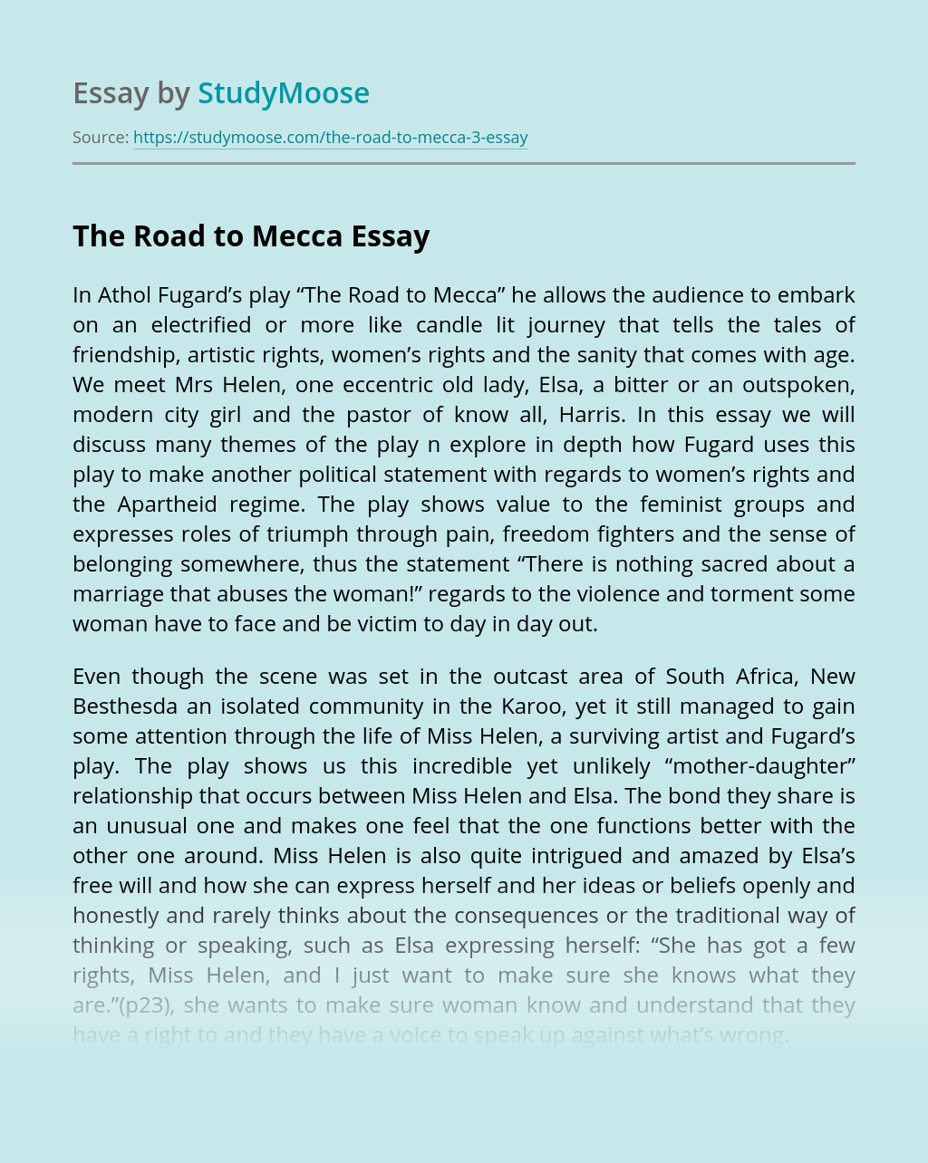 "Athol Fugard's play ""The Road to Mecca"""