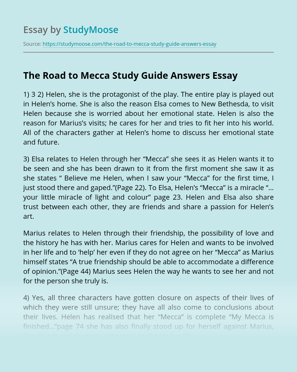 The Road to Mecca Study Guide Answers