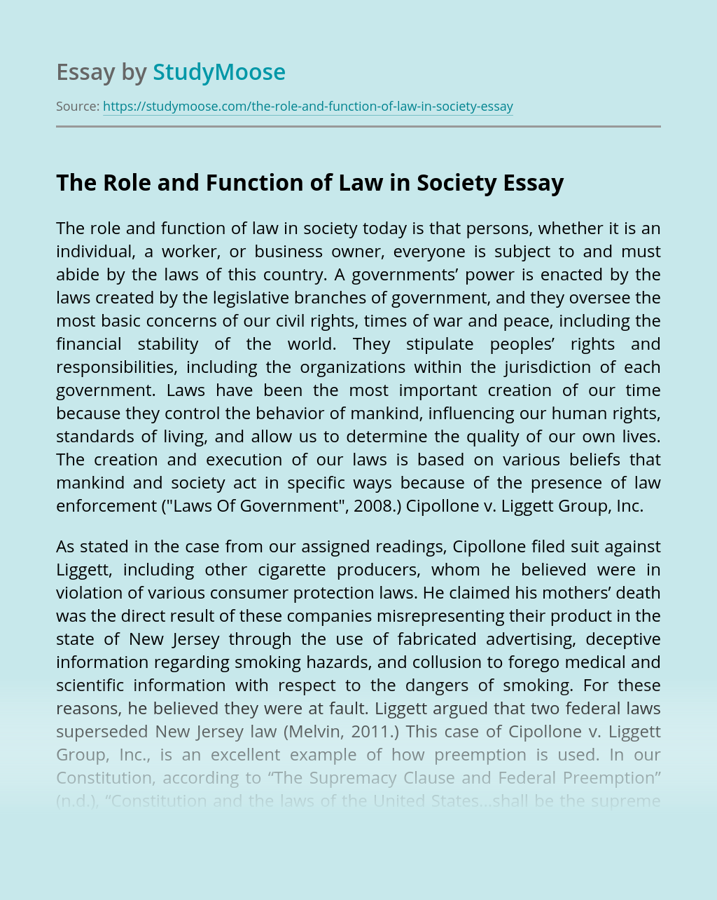 The Role and Function of Law in Society