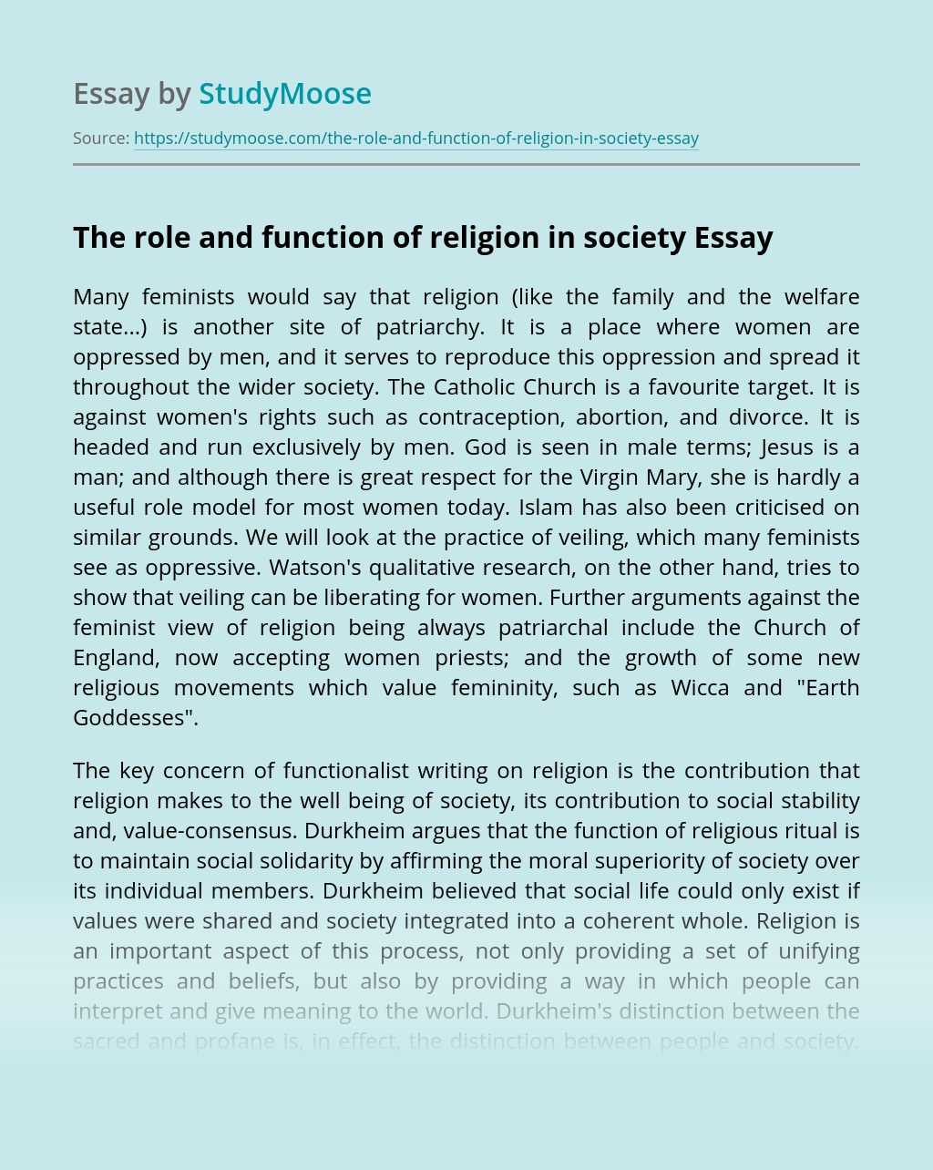 The role and function of religion in society