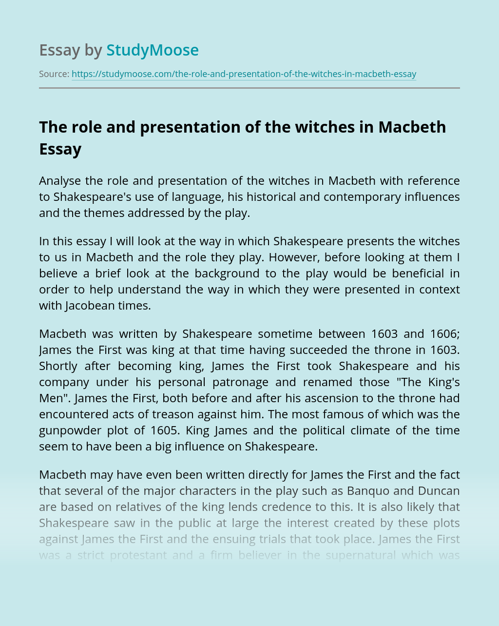 The role and presentation of the witches in Macbeth