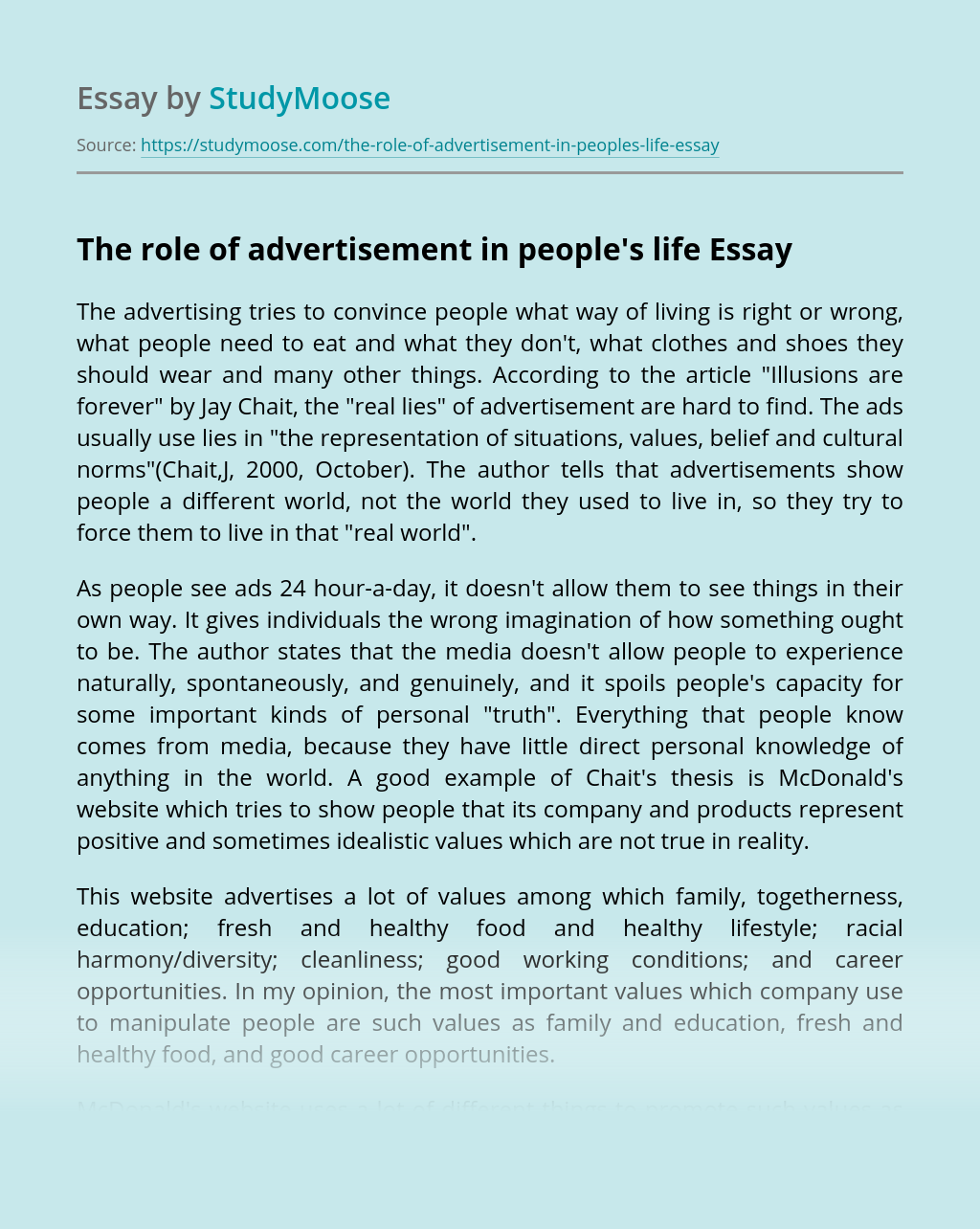 The role of advertisement in people's life