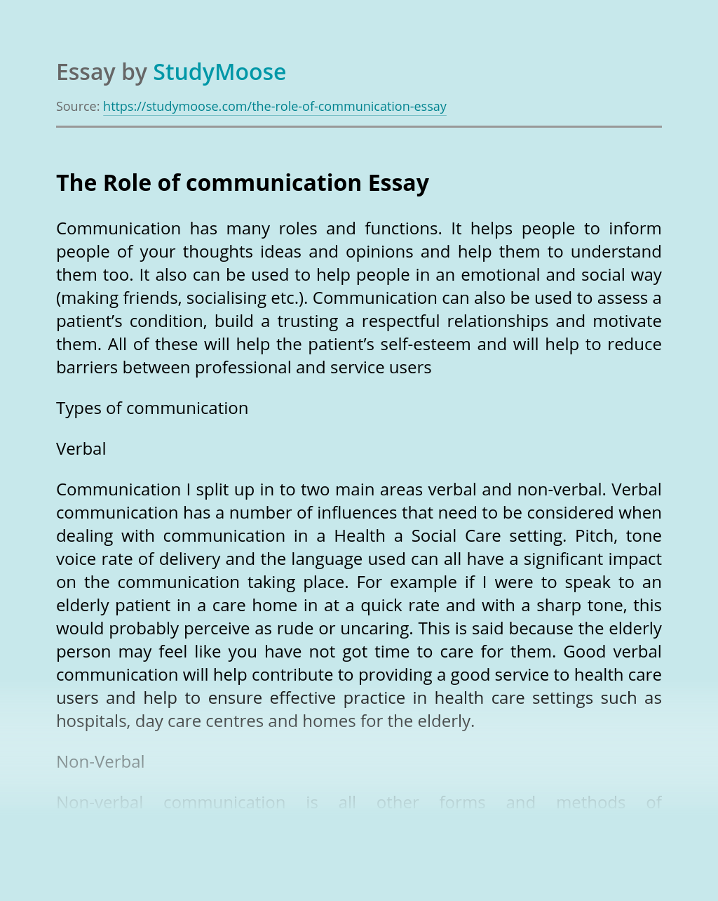 The Role of communication