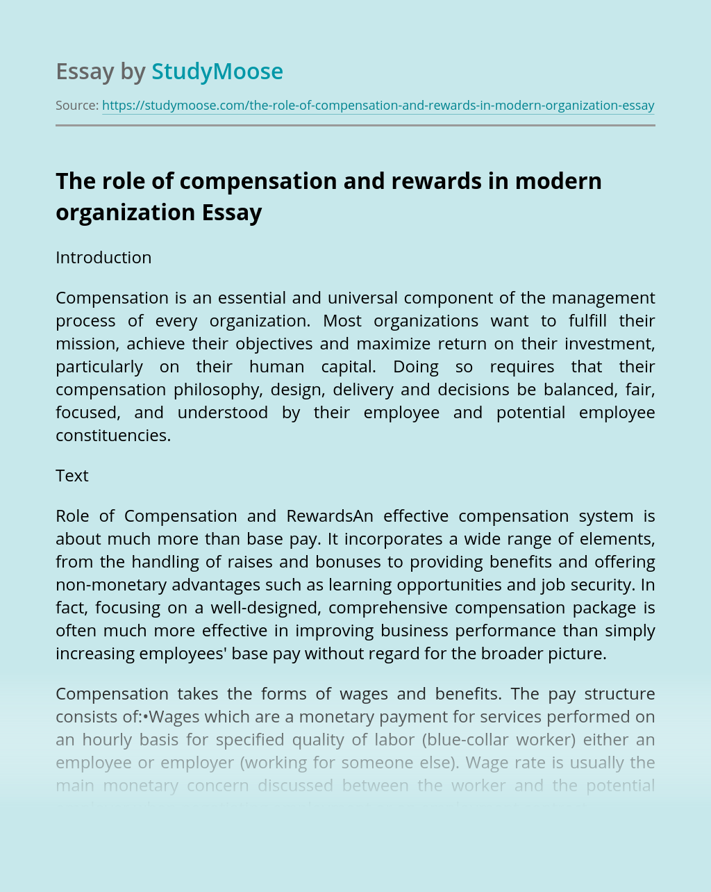 The role of compensation and rewards in modern organization